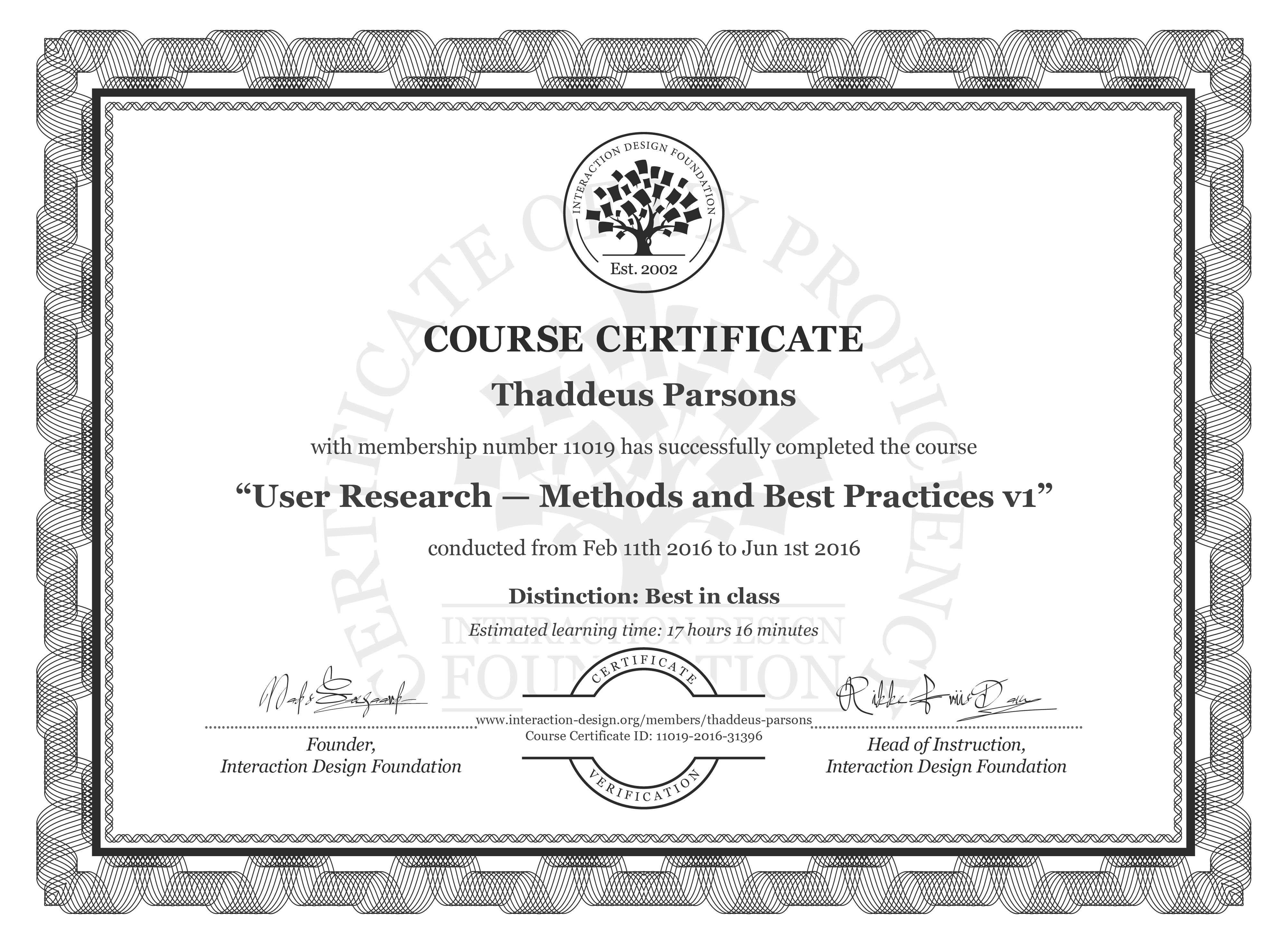 Superb Thaddeus Parsons Course Certificate User Research Interior Design Ideas Clesiryabchikinfo
