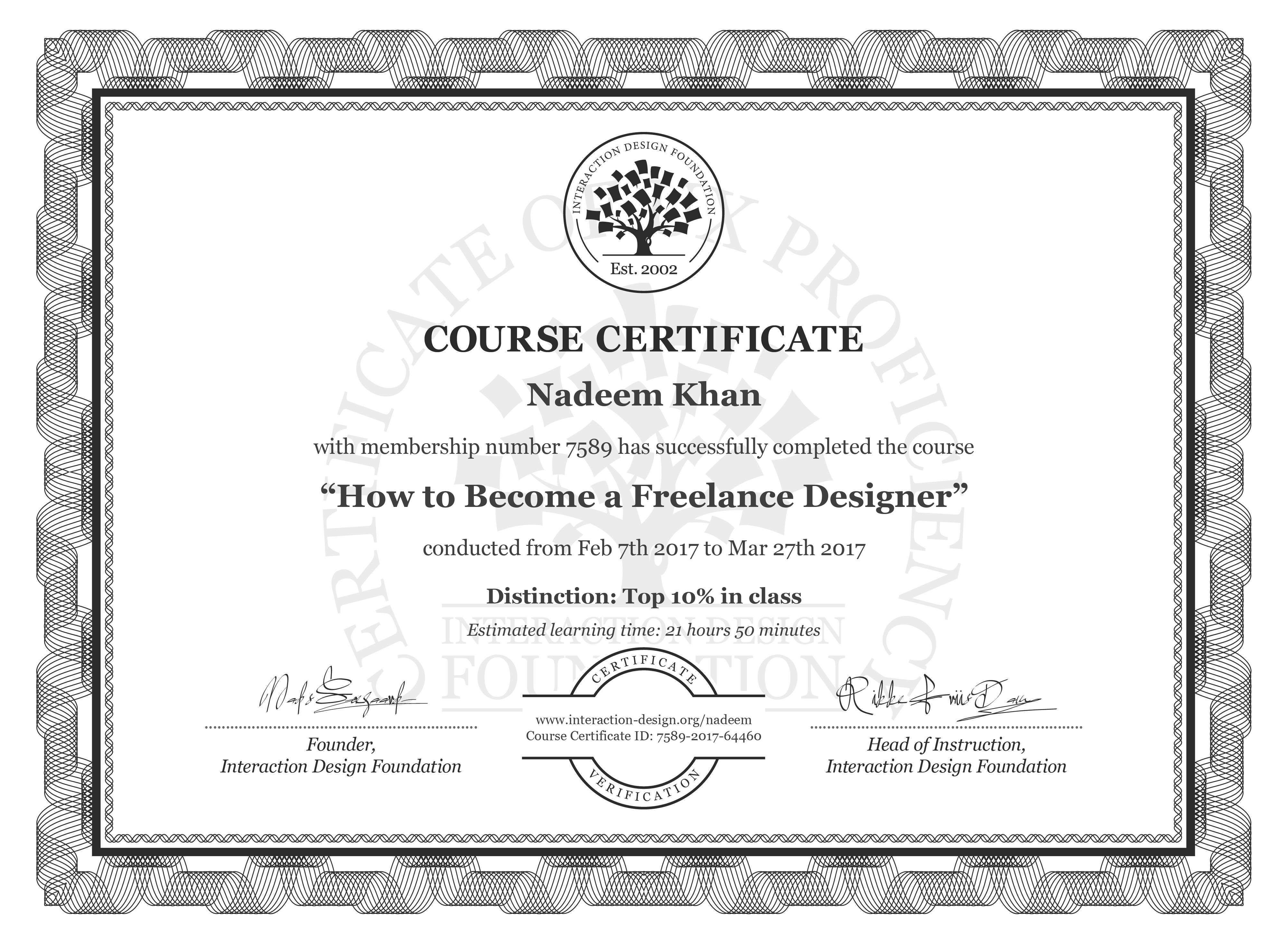 Nadeem Khan's Course Certificate: How to Become a Freelance Designer