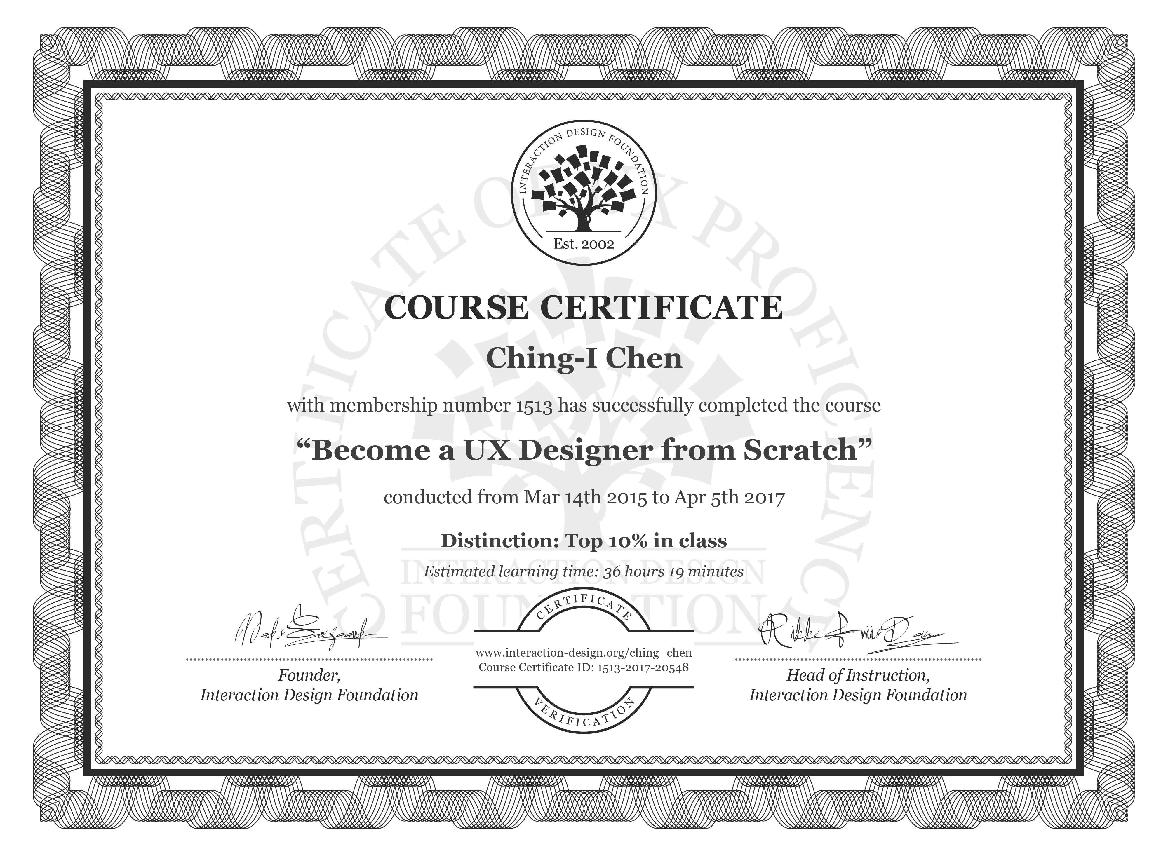 Ching Chen: Course Certificate - Become a UX Designer from Scratch
