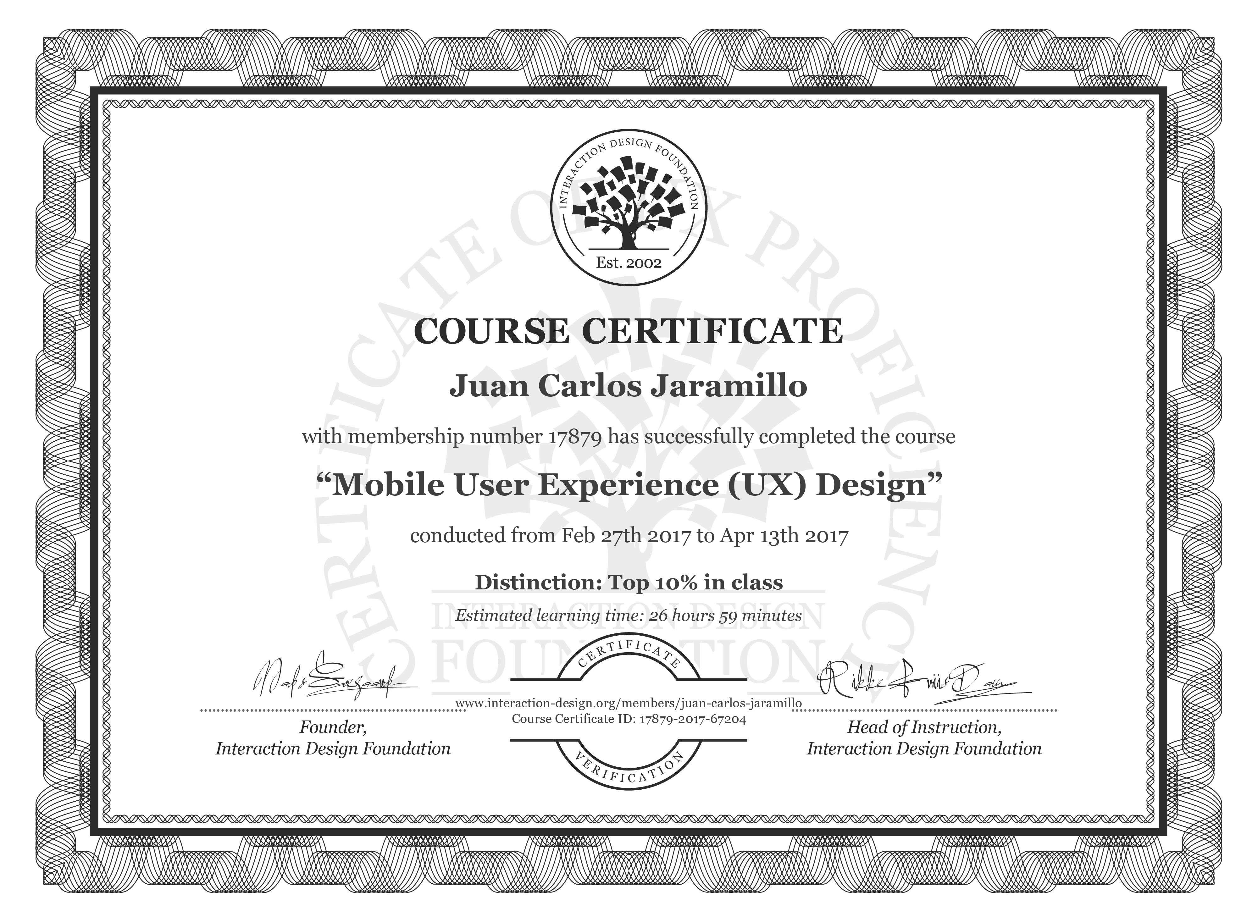 Juan Carlos Jaramillo: Course Certificate - Mobile User Experience (UX) Design