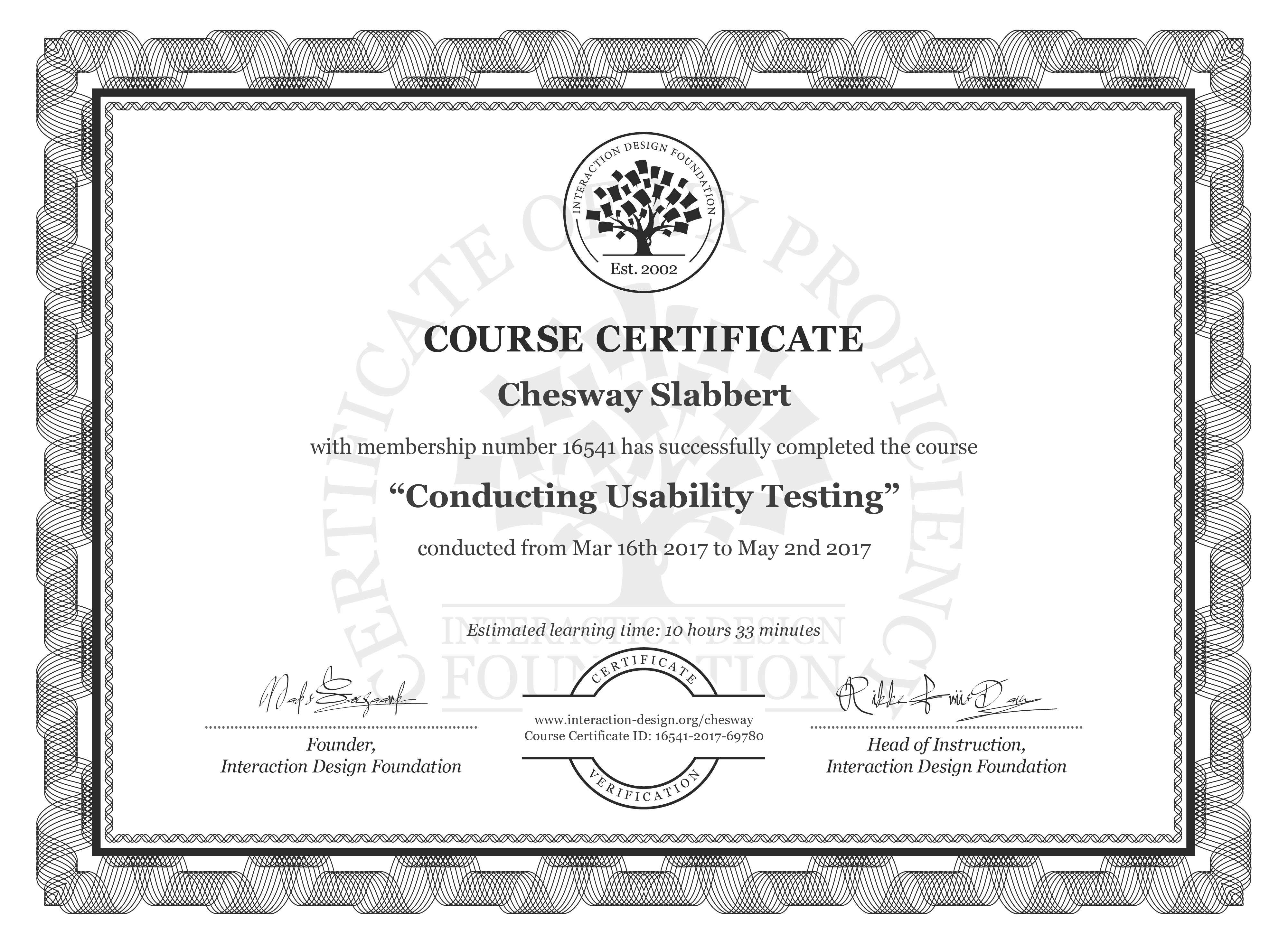 Chesway Slabbert's Course Certificate: Conducting Usability Testing
