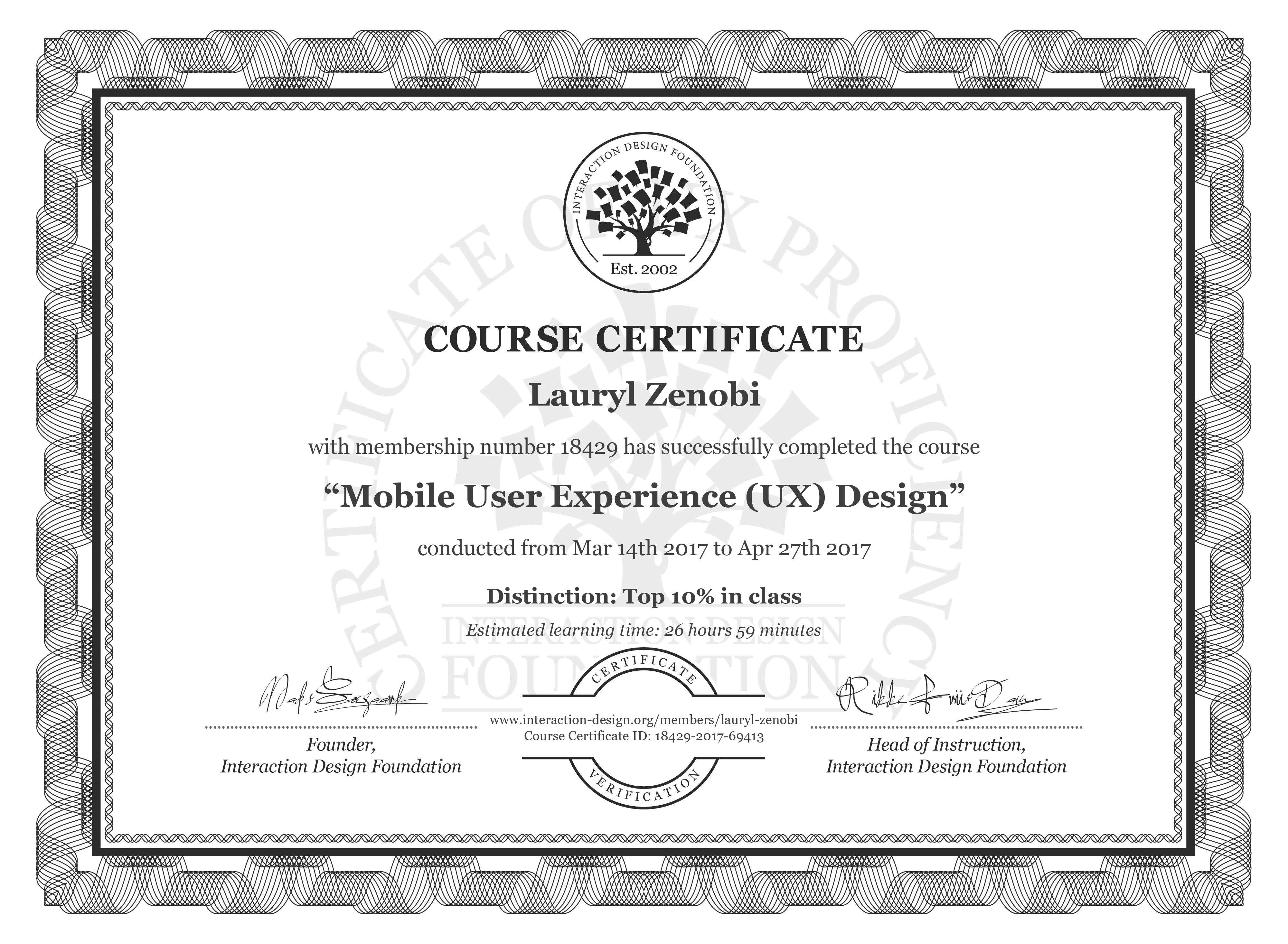 Lauryl Zenobi's Course Certificate: Mobile User Experience (UX) Design