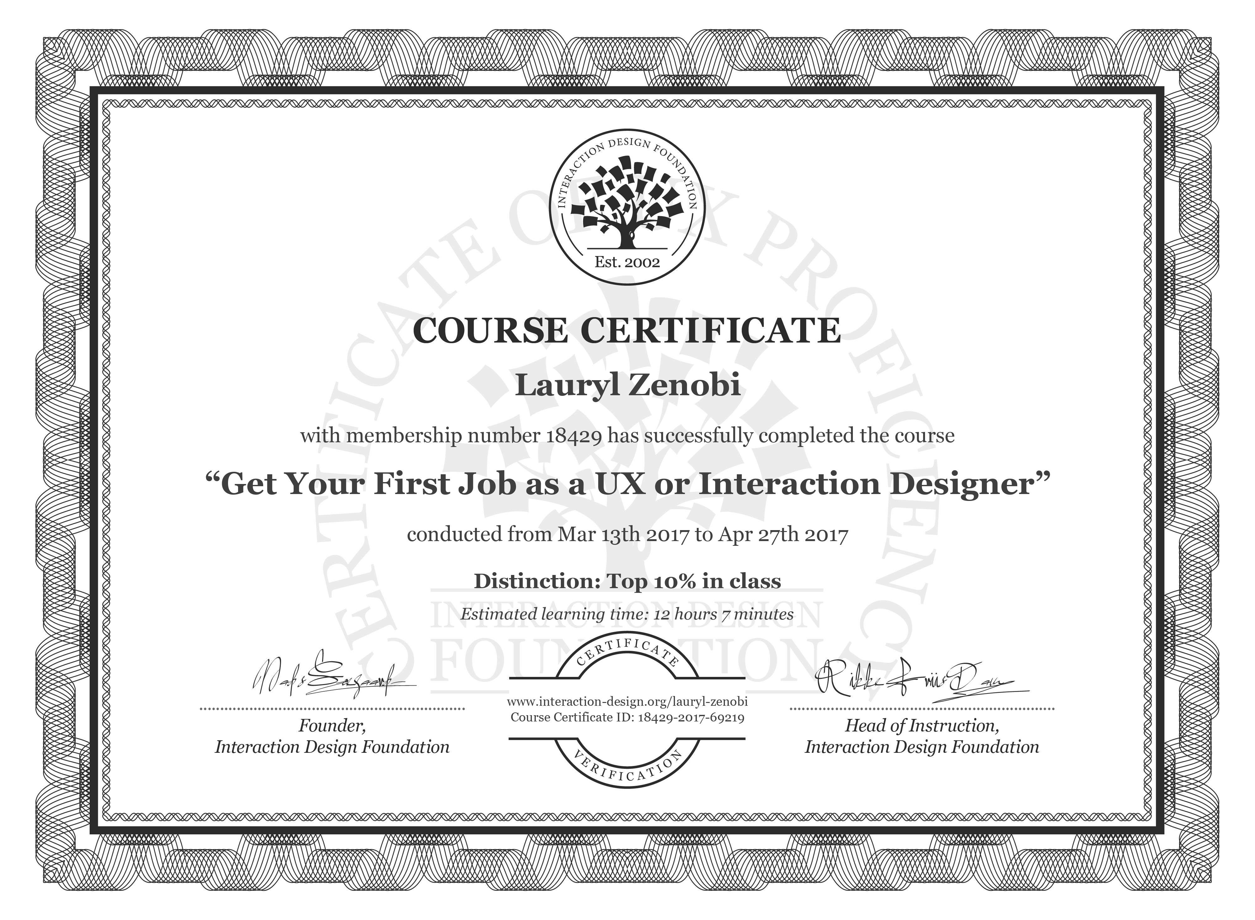 Lauryl Zenobi: Course Certificate - Get Your First Job as a UX or Interaction Designer