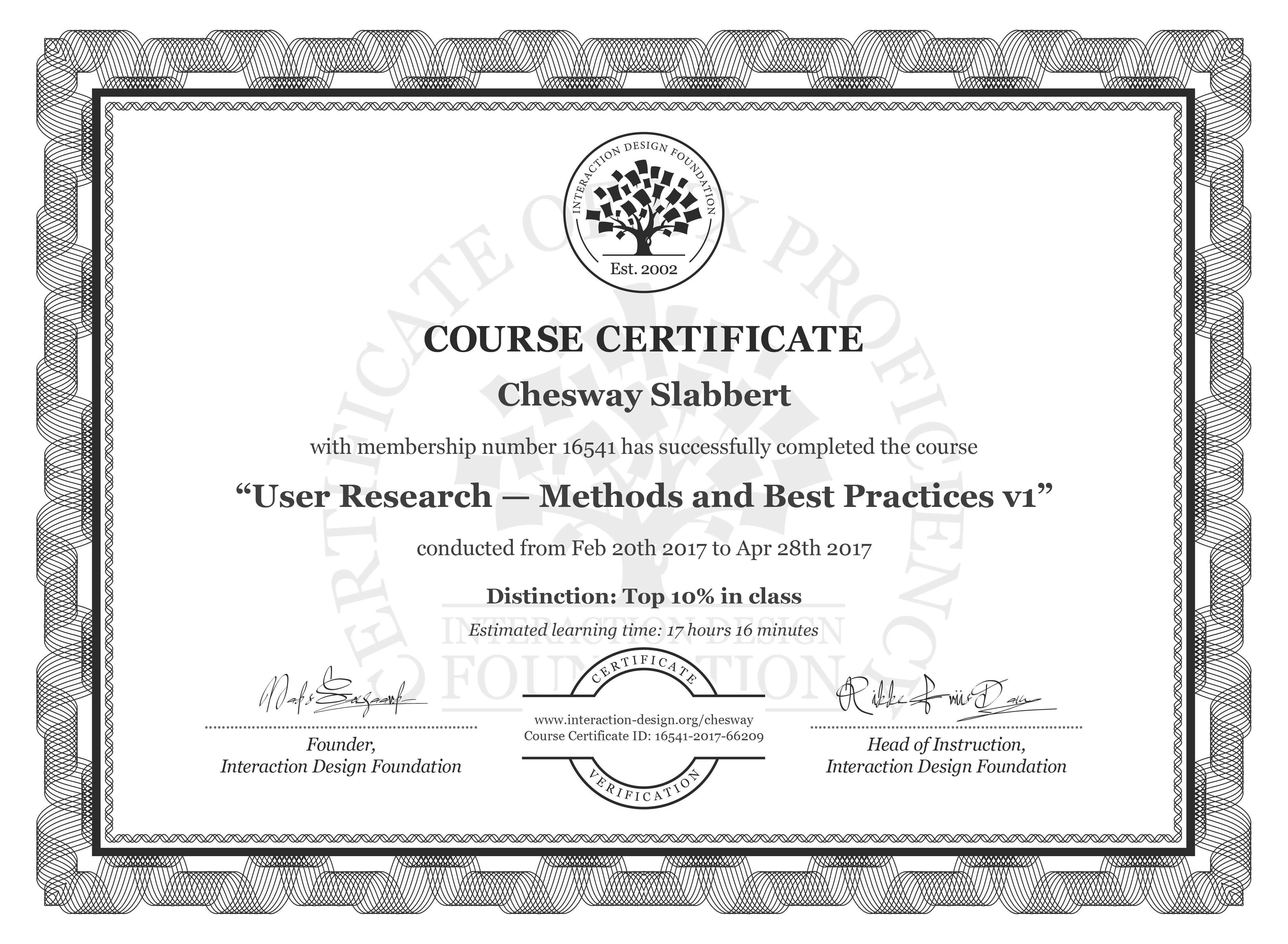 Chesway Slabbert: Course Certificate - User Research — Methods and Best Practices
