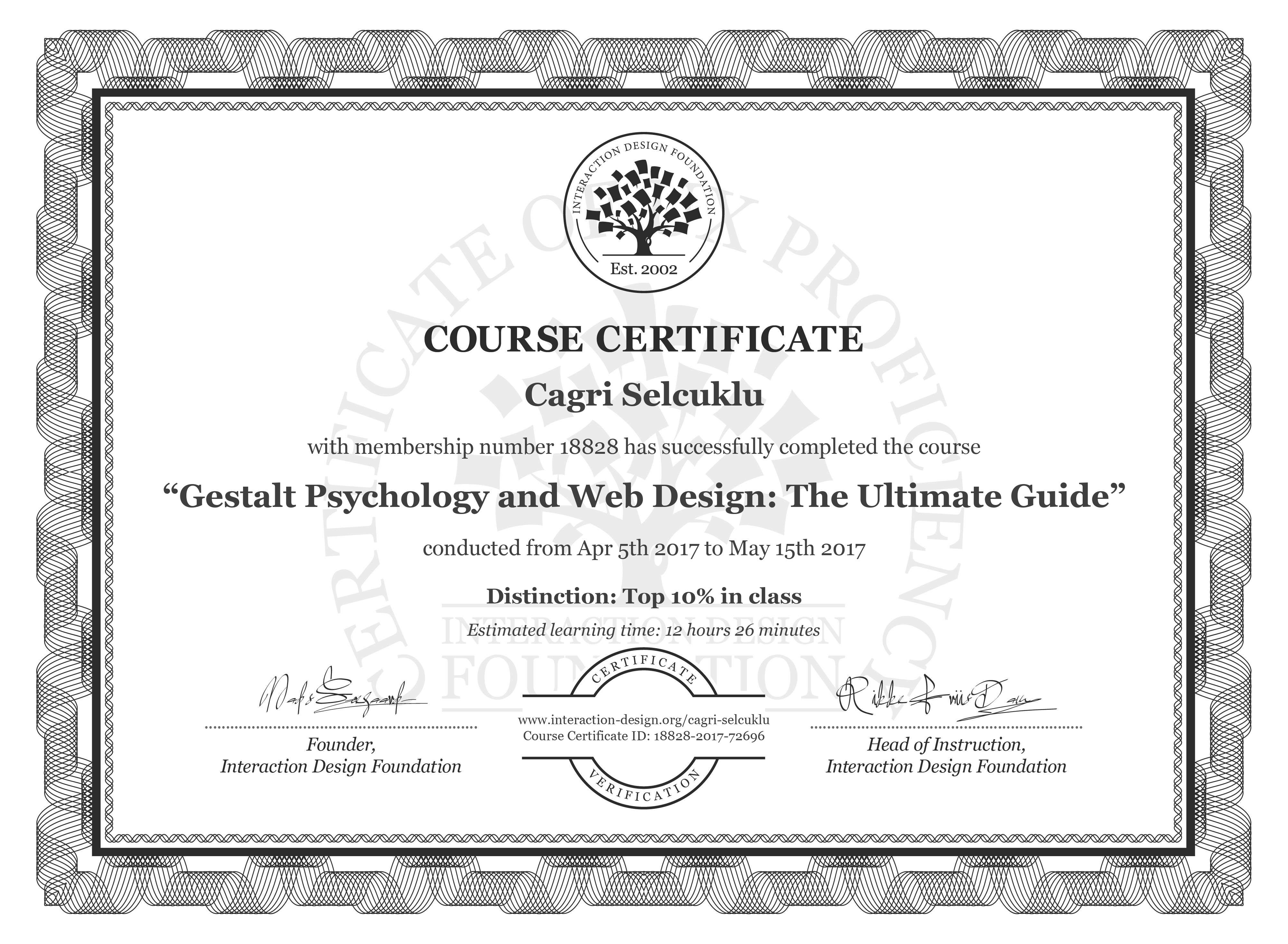 Cagri Selcuklu: Course Certificate - Gestalt Psychology and Web Design: The Ultimate Guide