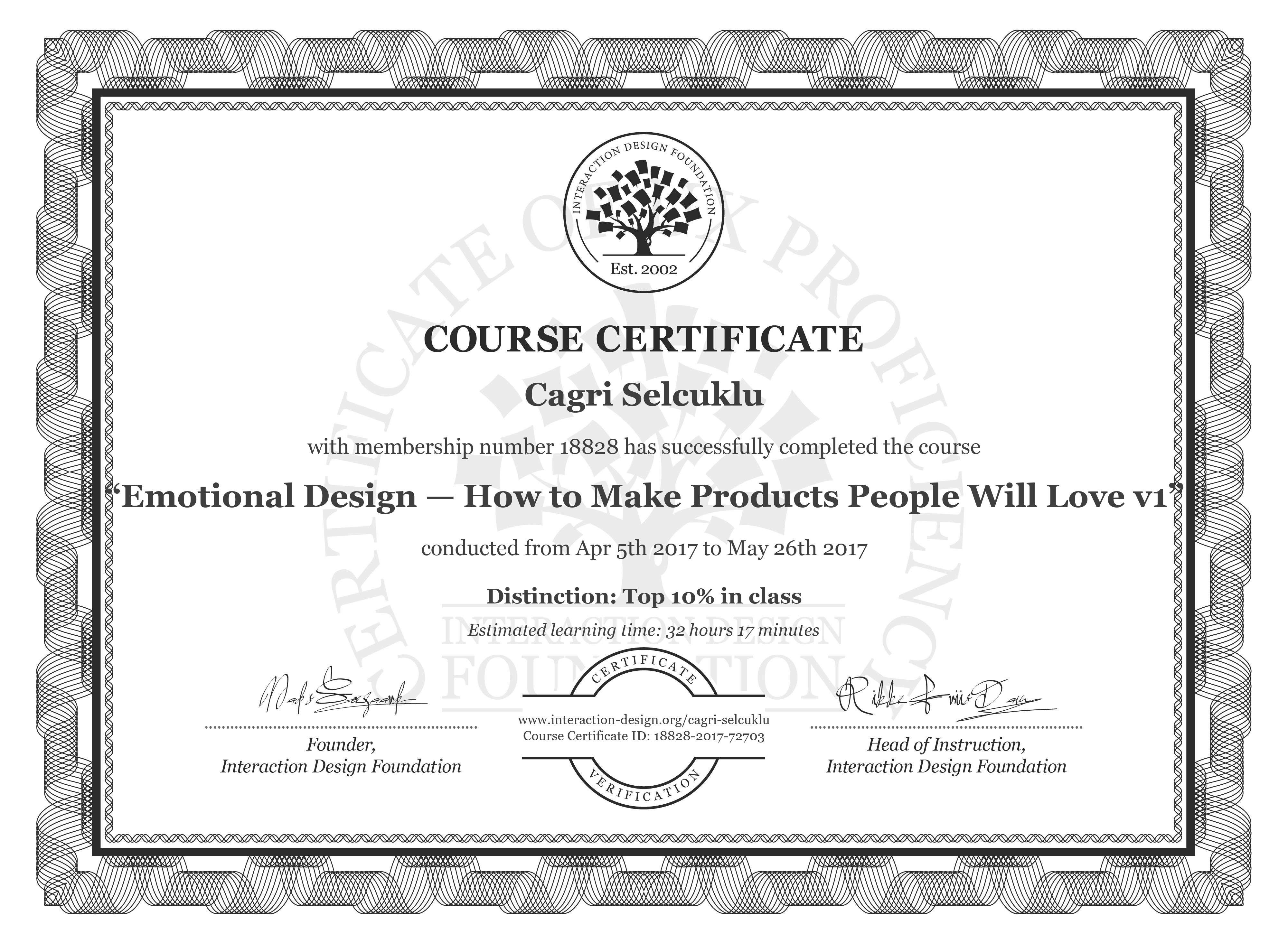 Cagri Selcuklu's Course Certificate: Emotional Design: How to Make Products People Will Love