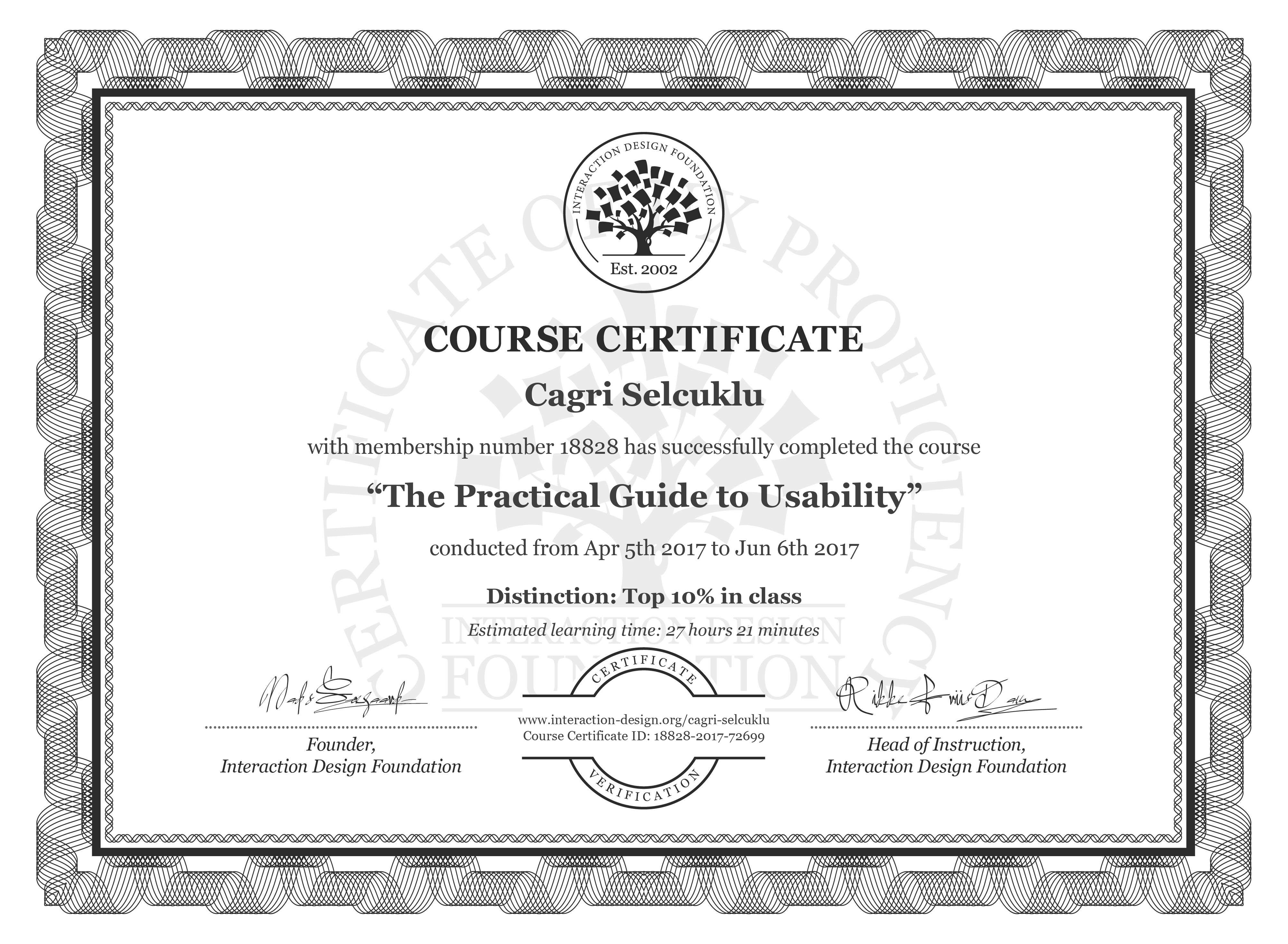 Cagri Selcuklu: Course Certificate - The Practical Guide to Usability