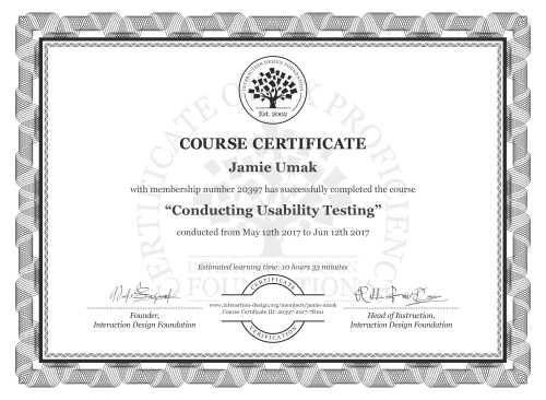 Jamie Umak's Course Certificate: Conducting Usability Testing