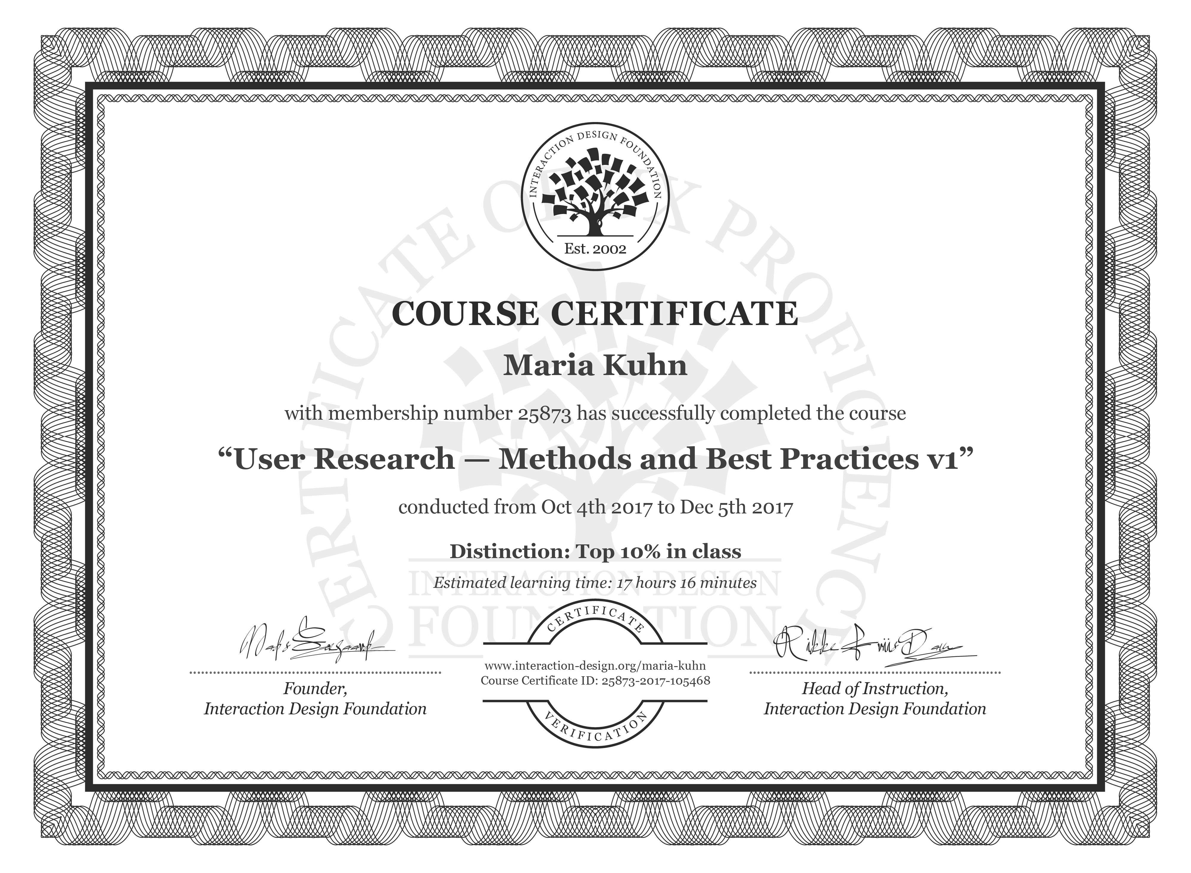 Maria Kuhn's Course Certificate: User Research — Methods and Best Practices