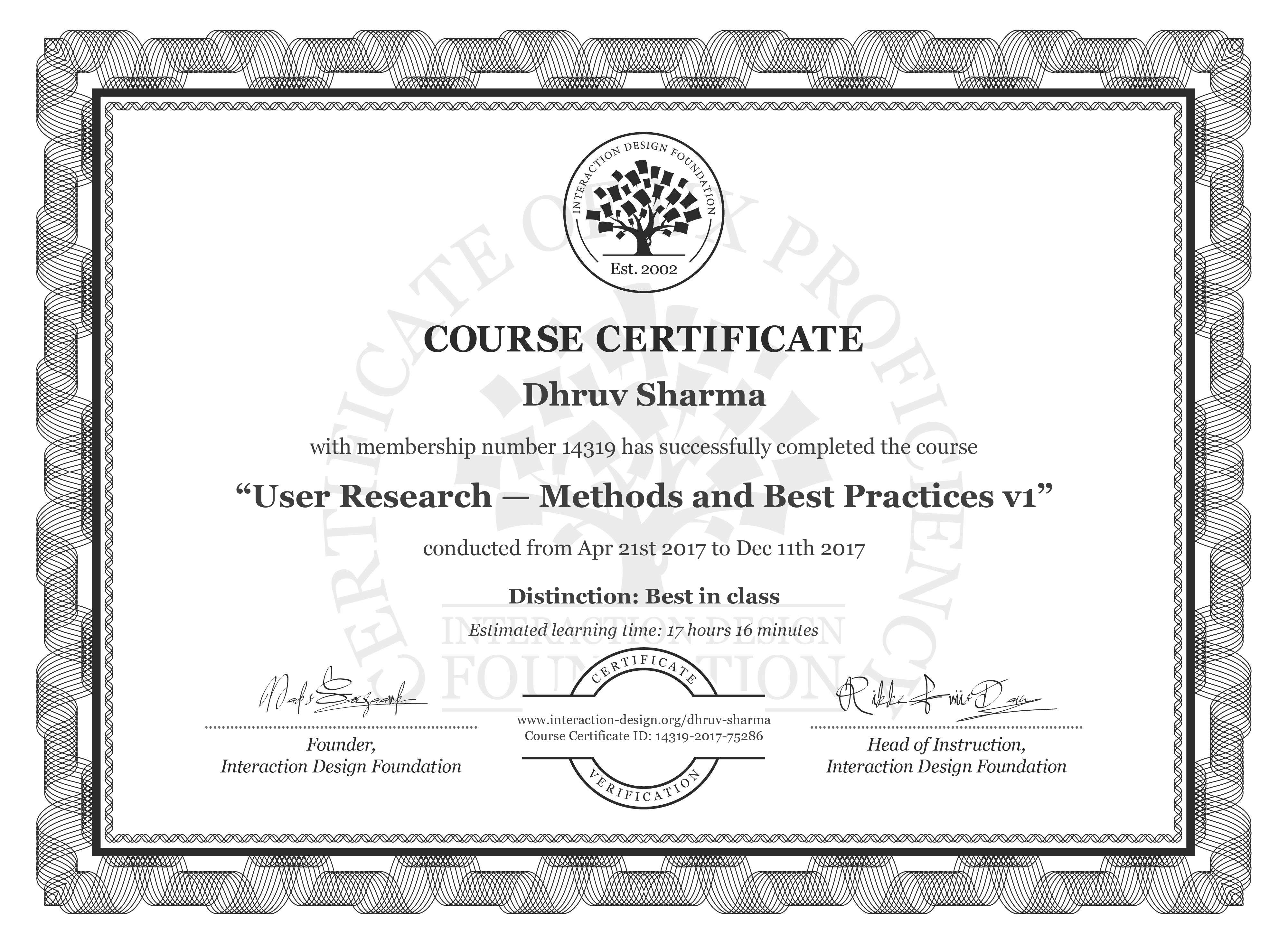 Dhruv Sharma: Course Certificate - User Research — Methods and Best Practices