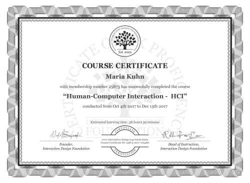 Maria Kuhn's Course Certificate: Human-Computer Interaction -  HCI