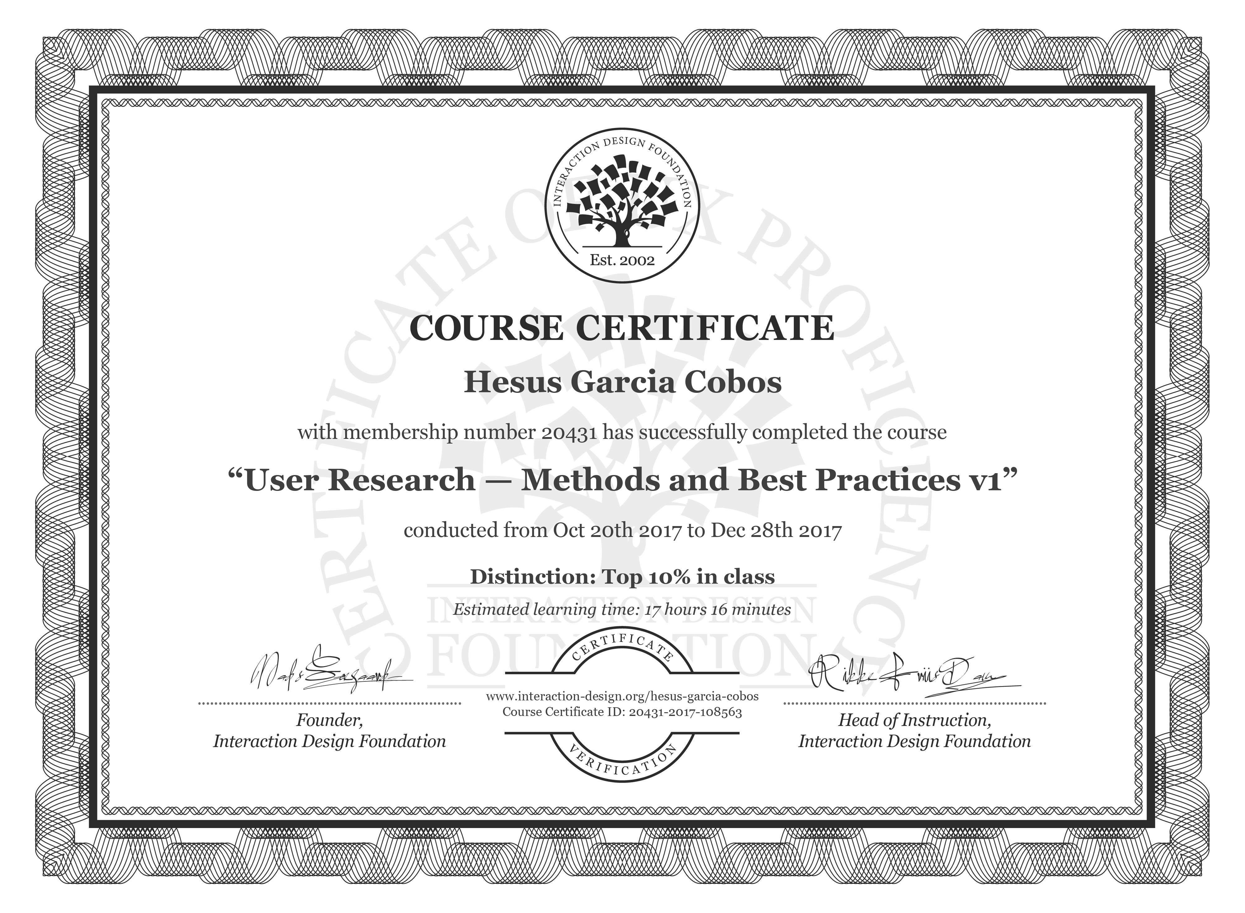 Hesus Garcia Cobos: Course Certificate - User Research — Methods and Best Practices