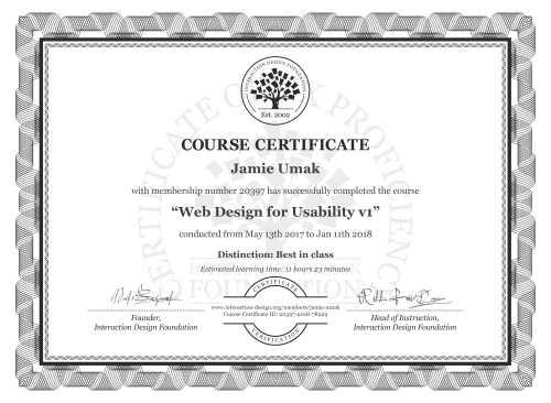 Jamie Umak's Course Certificate: Web Design for Usability