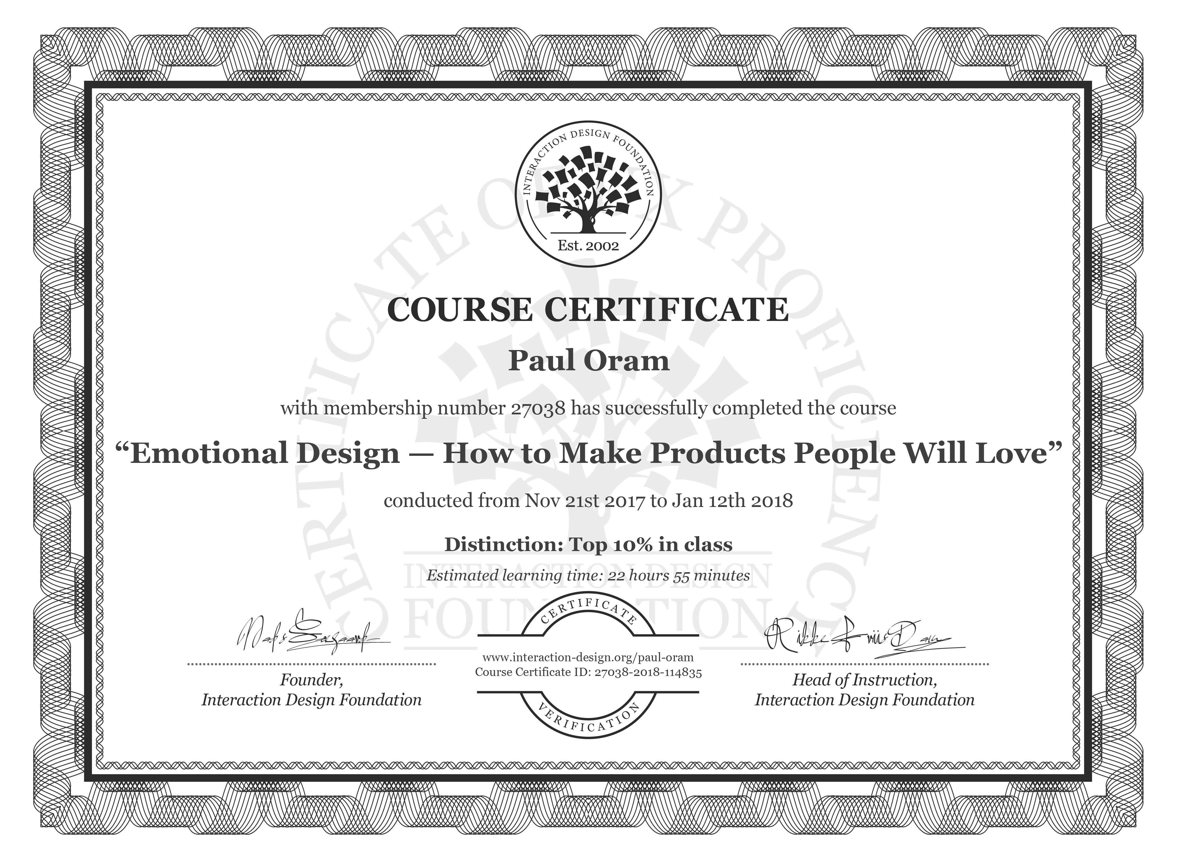 Paul Oram: Course Certificate - Emotional Design — How to Make Products People Will Love
