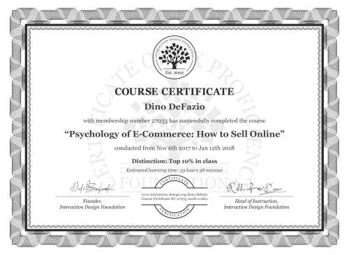 Dino DeFazio's Course Certificate: Psychology of E-Commerce: How to Sell Online