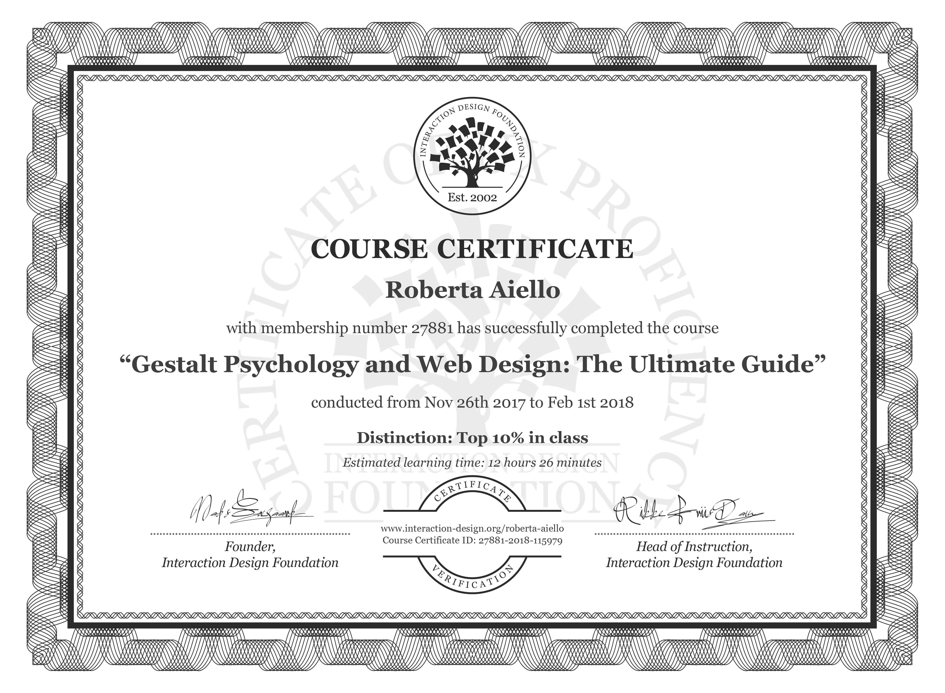 Roberta Aiello: Course Certificate - Gestalt Psychology and Web Design: The Ultimate Guide
