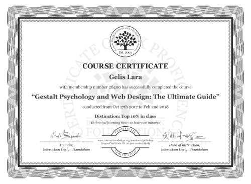 Gelis Lara's Course Certificate: Gestalt Psychology and Web Design: The Ultimate Guide