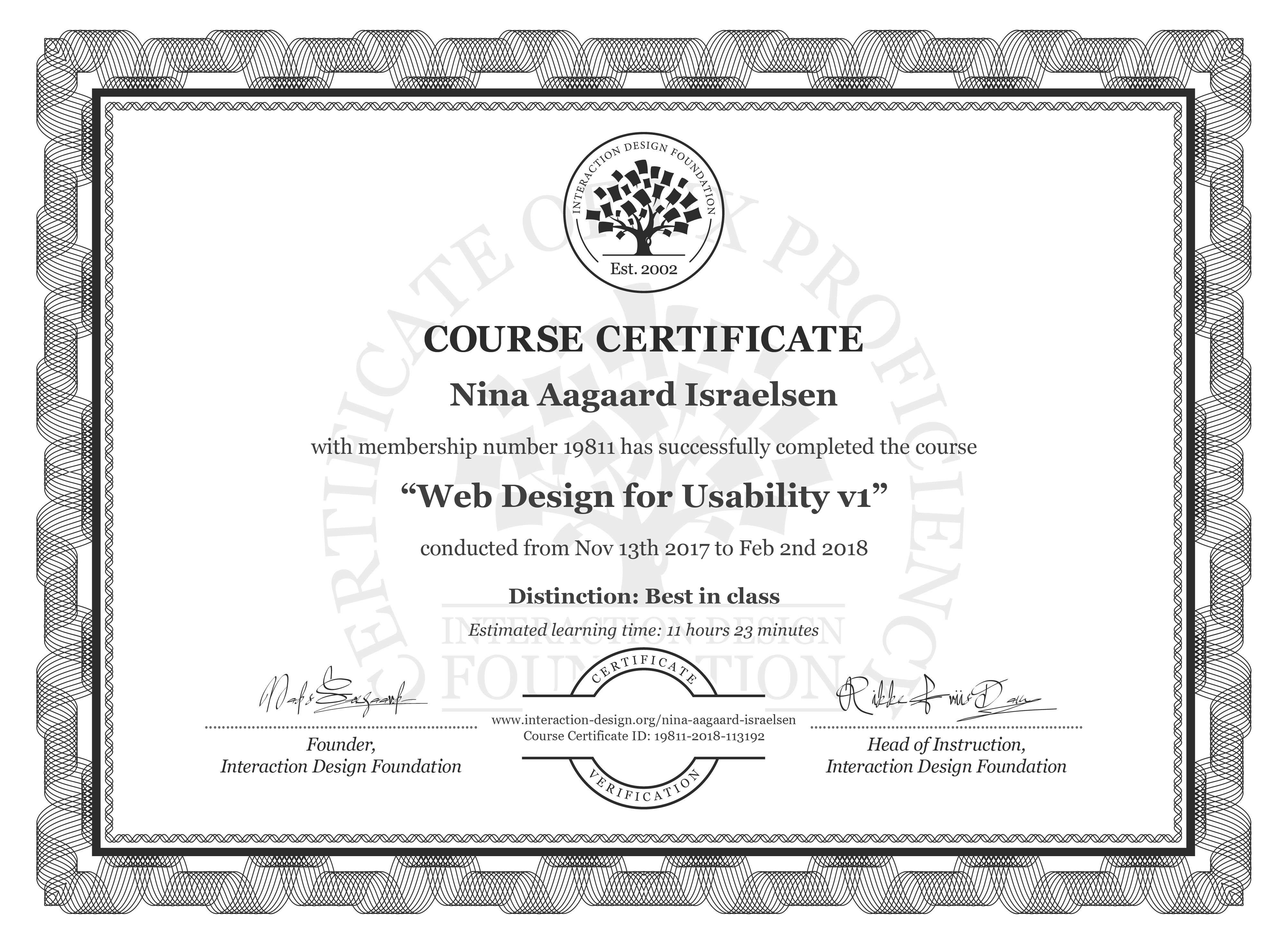 Nina Aagaard Israelsen's Course Certificate: Web Design for Usability