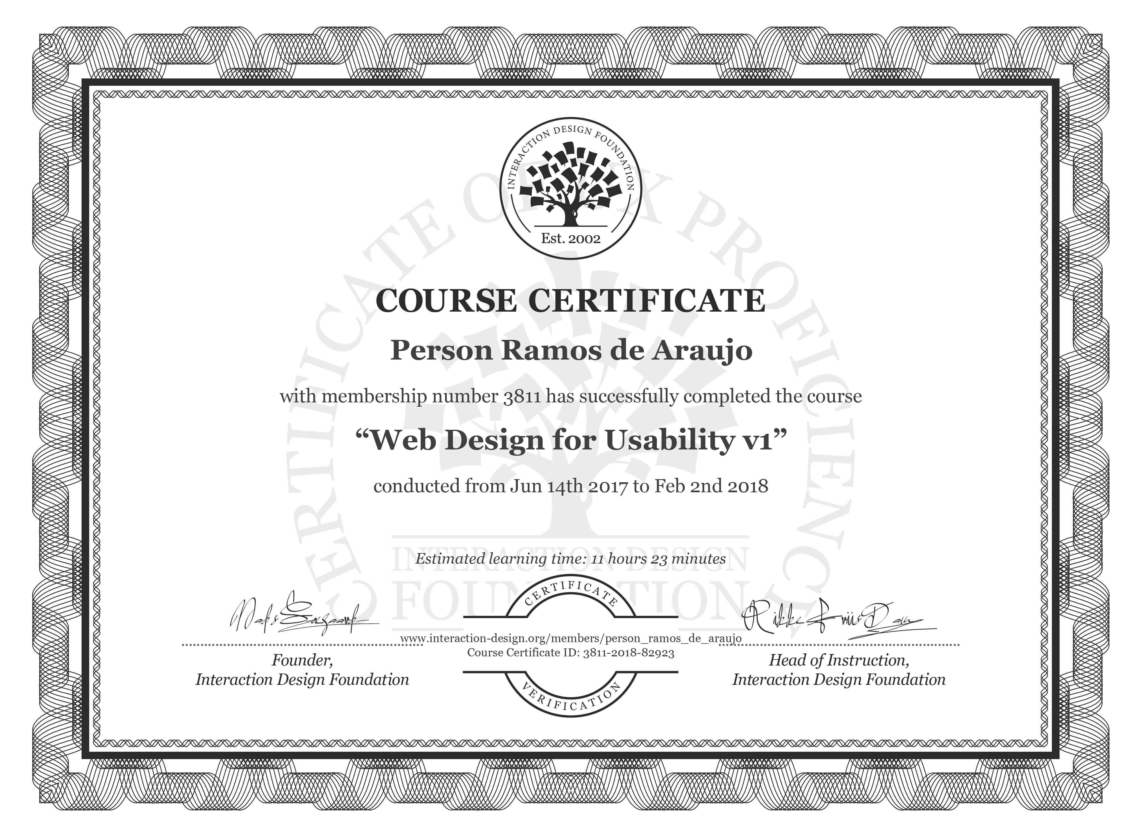 Person Ramos de Araujo: Course Certificate - Web Design for Usability