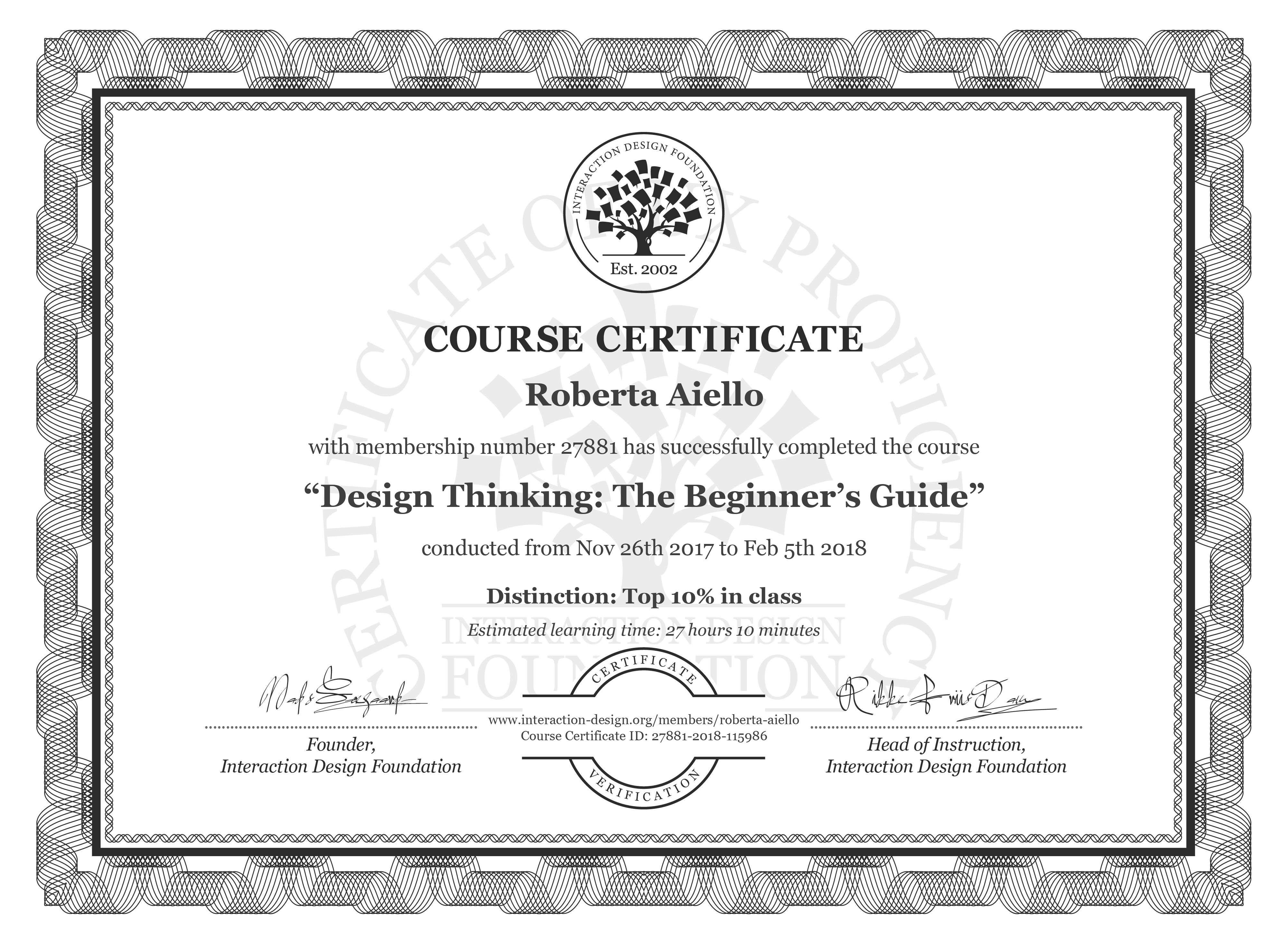 Roberta Aiello: Course Certificate - Design Thinking: The Beginner's Guide