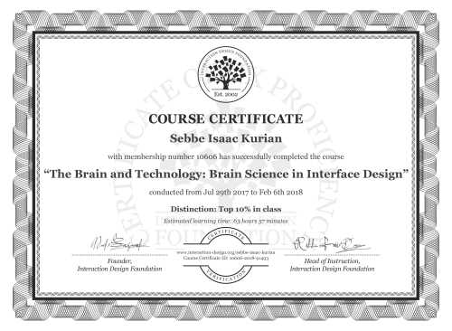 Sebbe Isaac Kurian's Course Certificate: The Brain and Technology: Brain Science in Interface Design