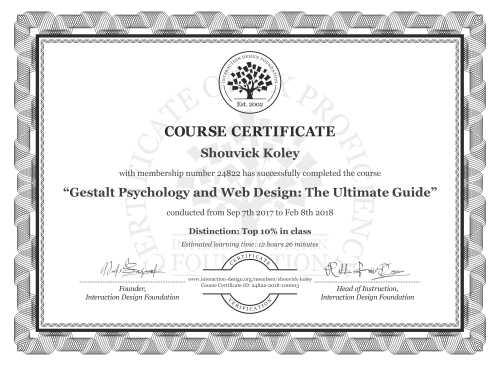 Shouvick Koley's Course Certificate: Gestalt Psychology and Web Design: The Ultimate Guide