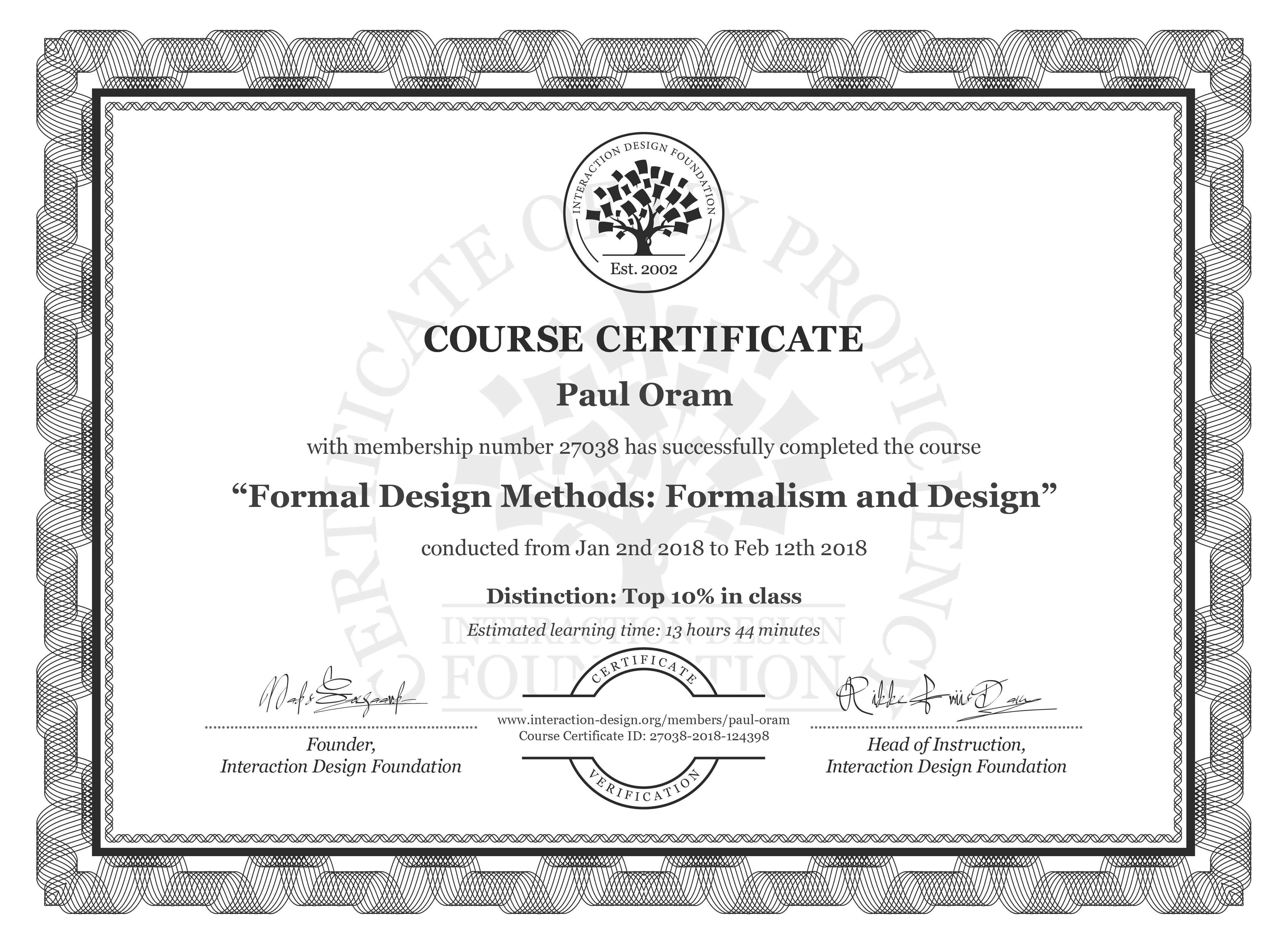 Paul Oram: Course Certificate - Formal Design Methods: Formalism and Design