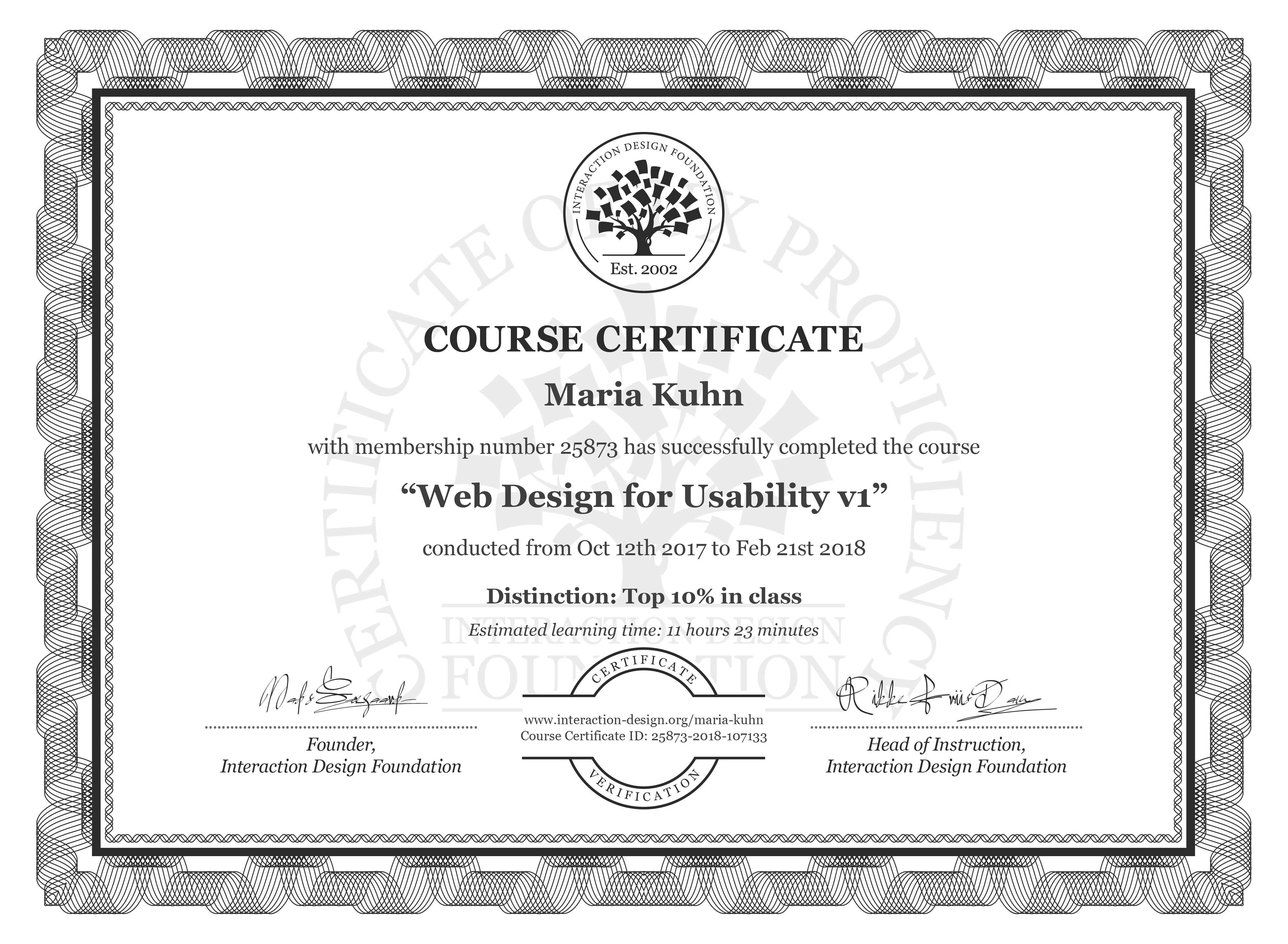 Maria Kuhn's Course Certificate: Web Design for Usability