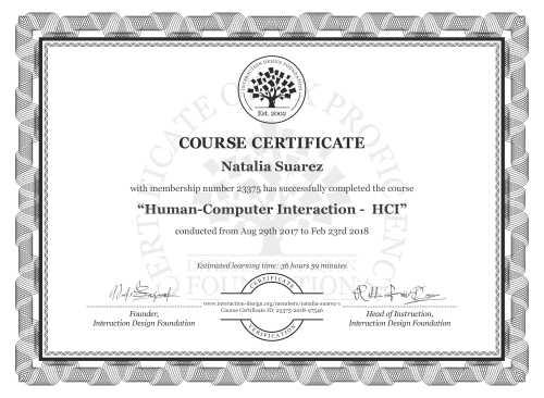 Natalia Suarez's Course Certificate: Human-Computer Interaction -  HCI