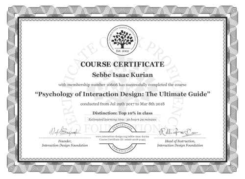 Sebbe Isaac Kurian's Course Certificate: Psychology of Interaction Design: The Ultimate Guide