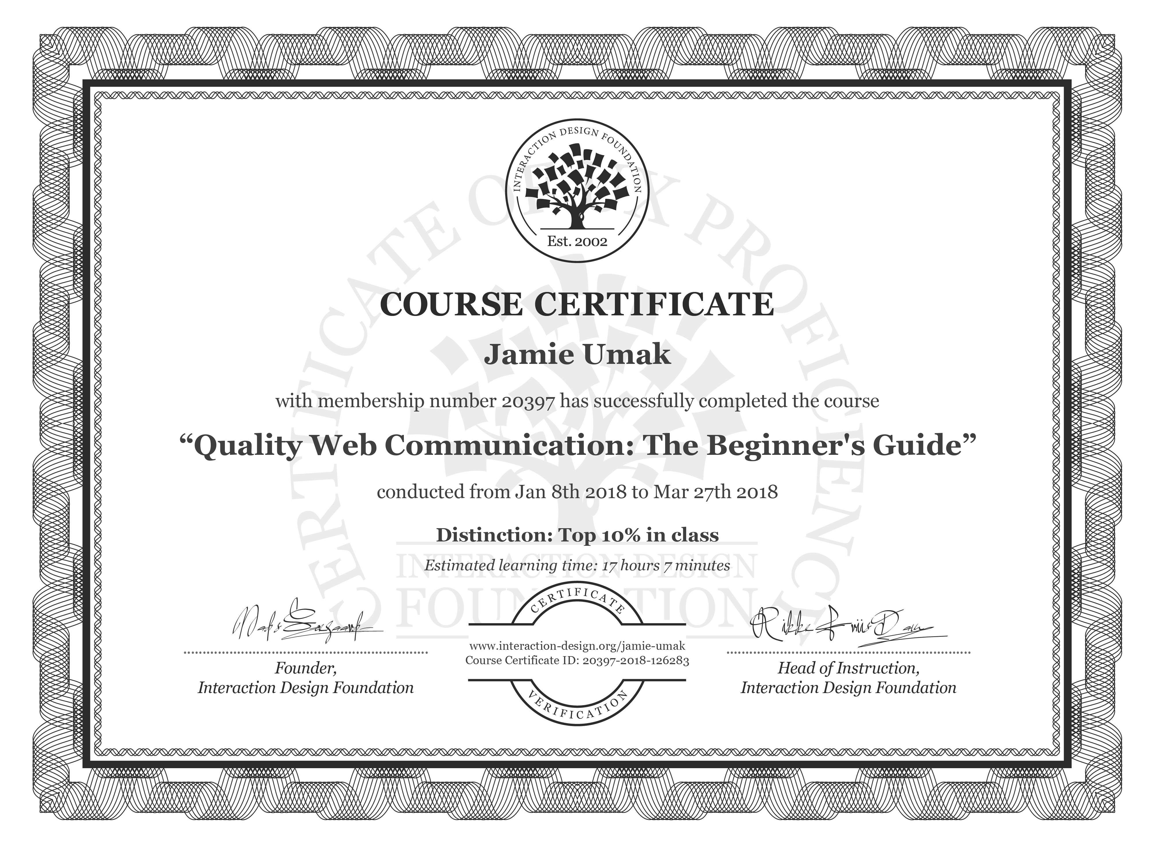 Jamie Umak: Course Certificate - Quality Web Communication: The Beginner's Guide