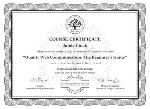 Jamie Umak's Course Certificate: Quality Web Communication: The Beginner's Guide