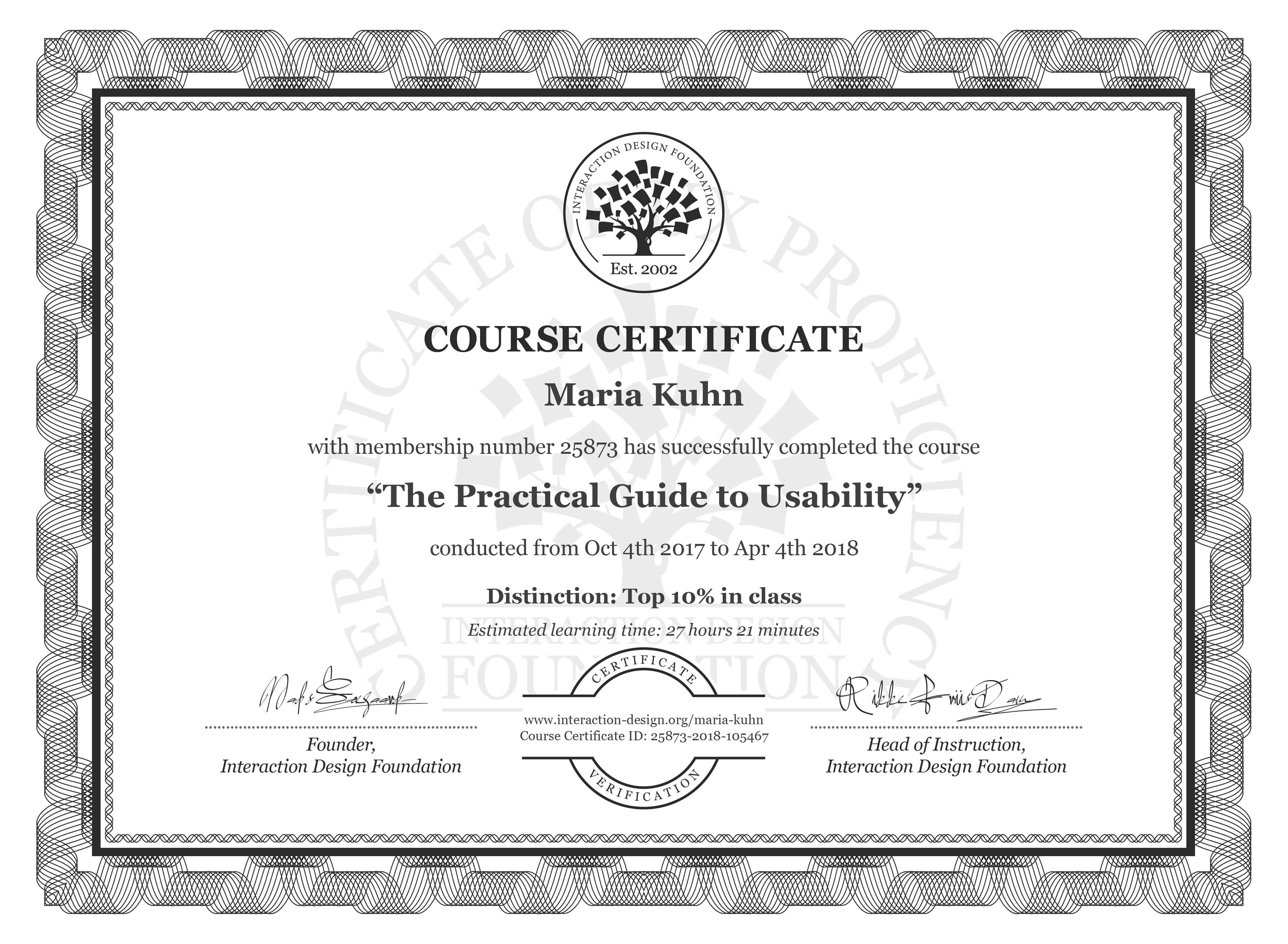Maria Kuhn: Course Certificate - The Practical Guide to Usability