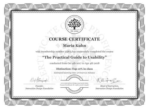 Maria Kuhn's Course Certificate: The Practical Guide to Usability