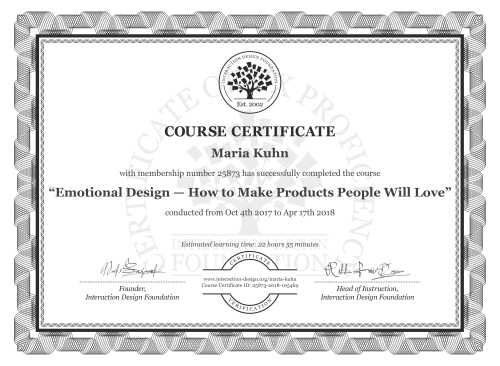 Maria Kuhn's Course Certificate: Emotional Design — How to Make Products People Will Love