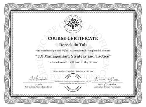 Dereck du Toit's Course Certificate: UX Management: Strategy and Tactics
