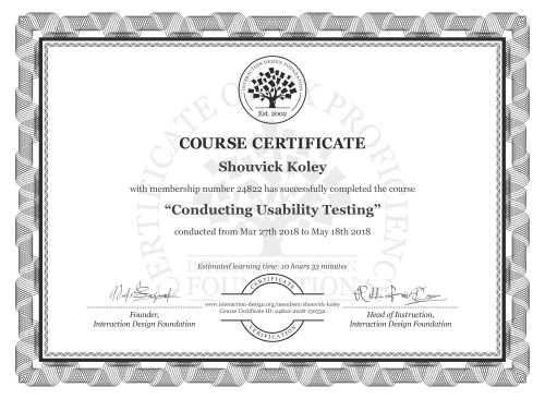 Shouvick Koley's Course Certificate: Conducting Usability Testing