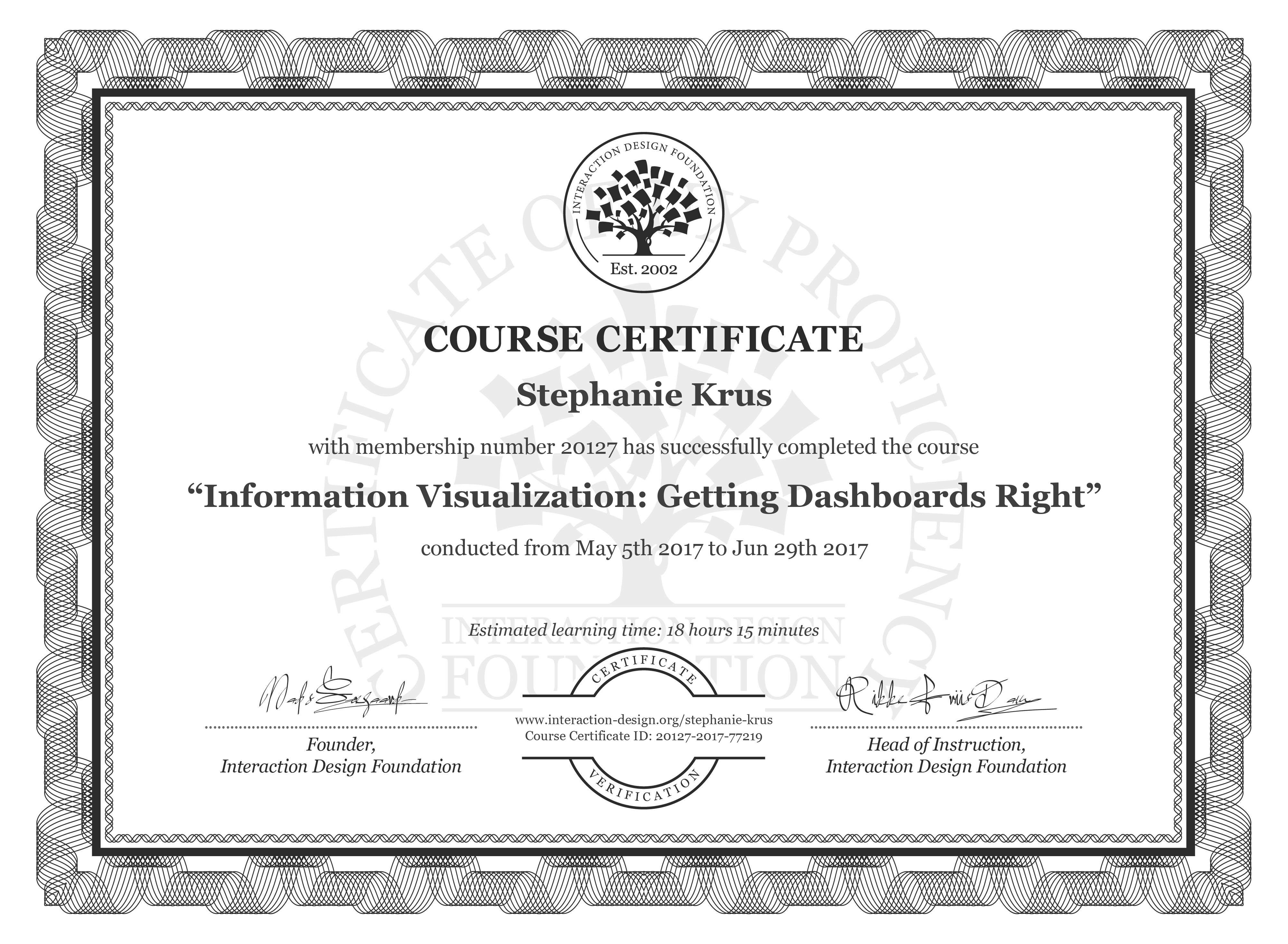 Stephanie Krus's Course Certificate: Information Visualization: Getting Dashboards Right