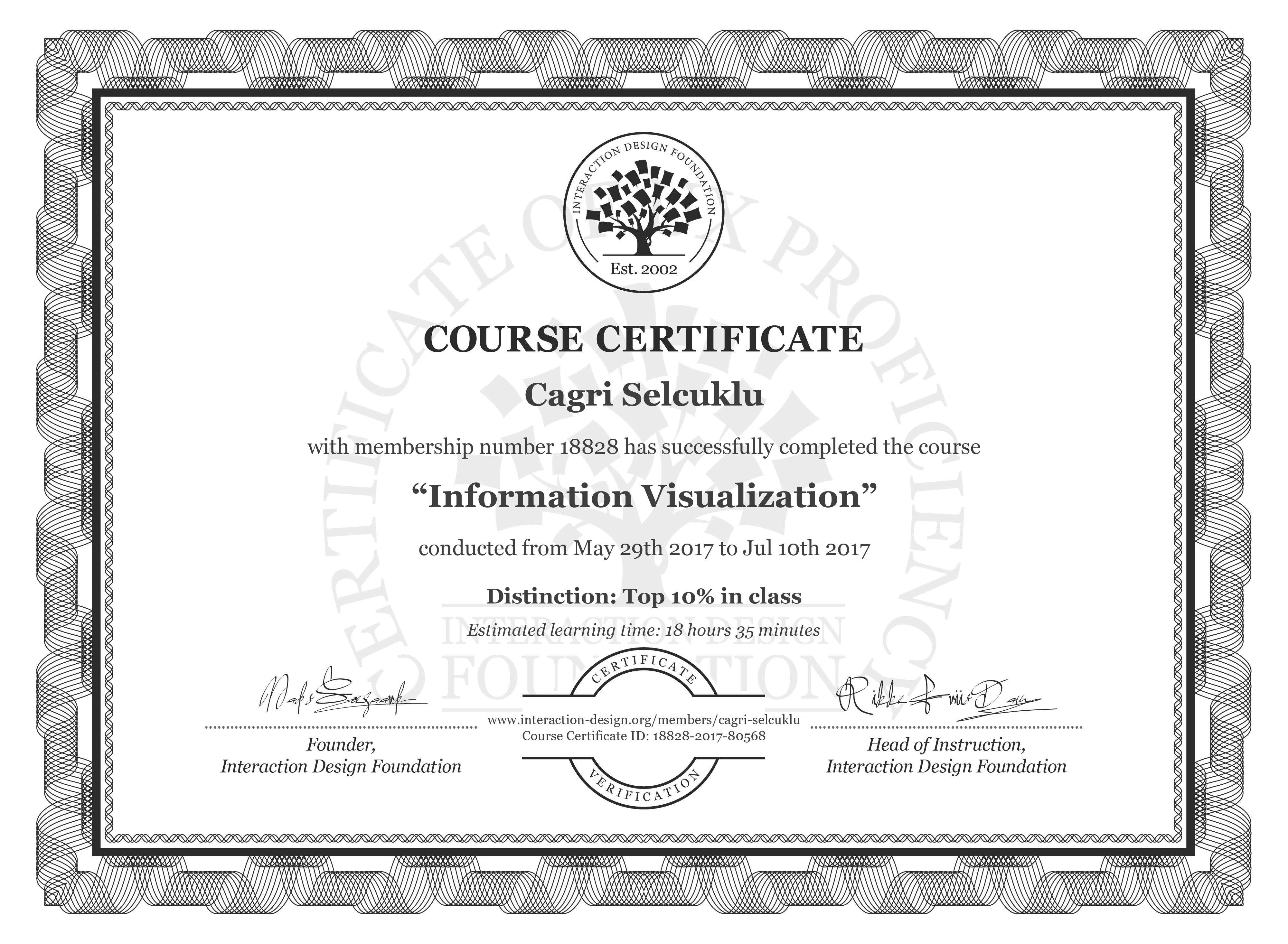 Cagri Selcuklu's Course Certificate: Information Visualization