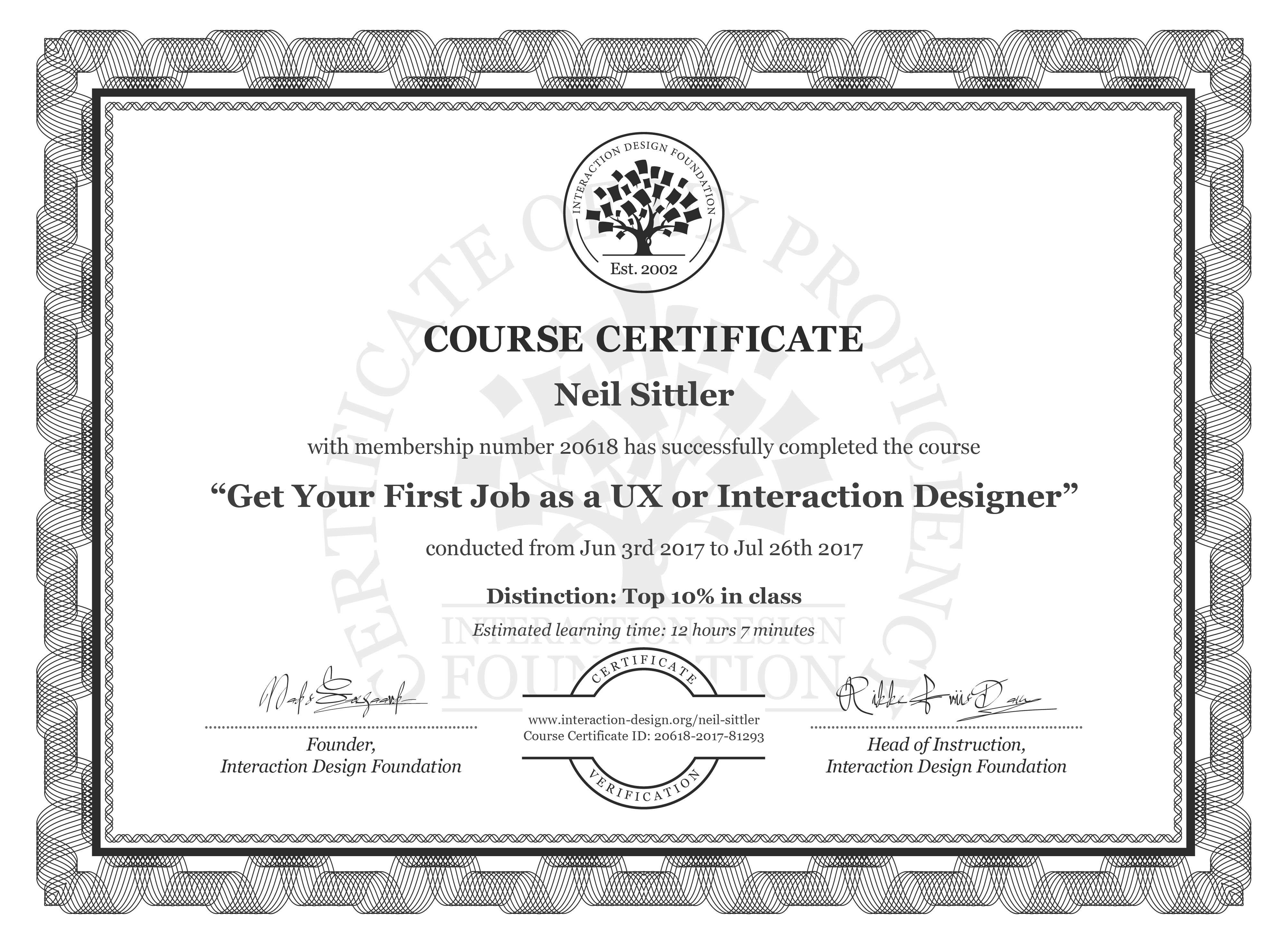 Neil Sittler: Course Certificate - Get Your First Job as a UX or Interaction Designer