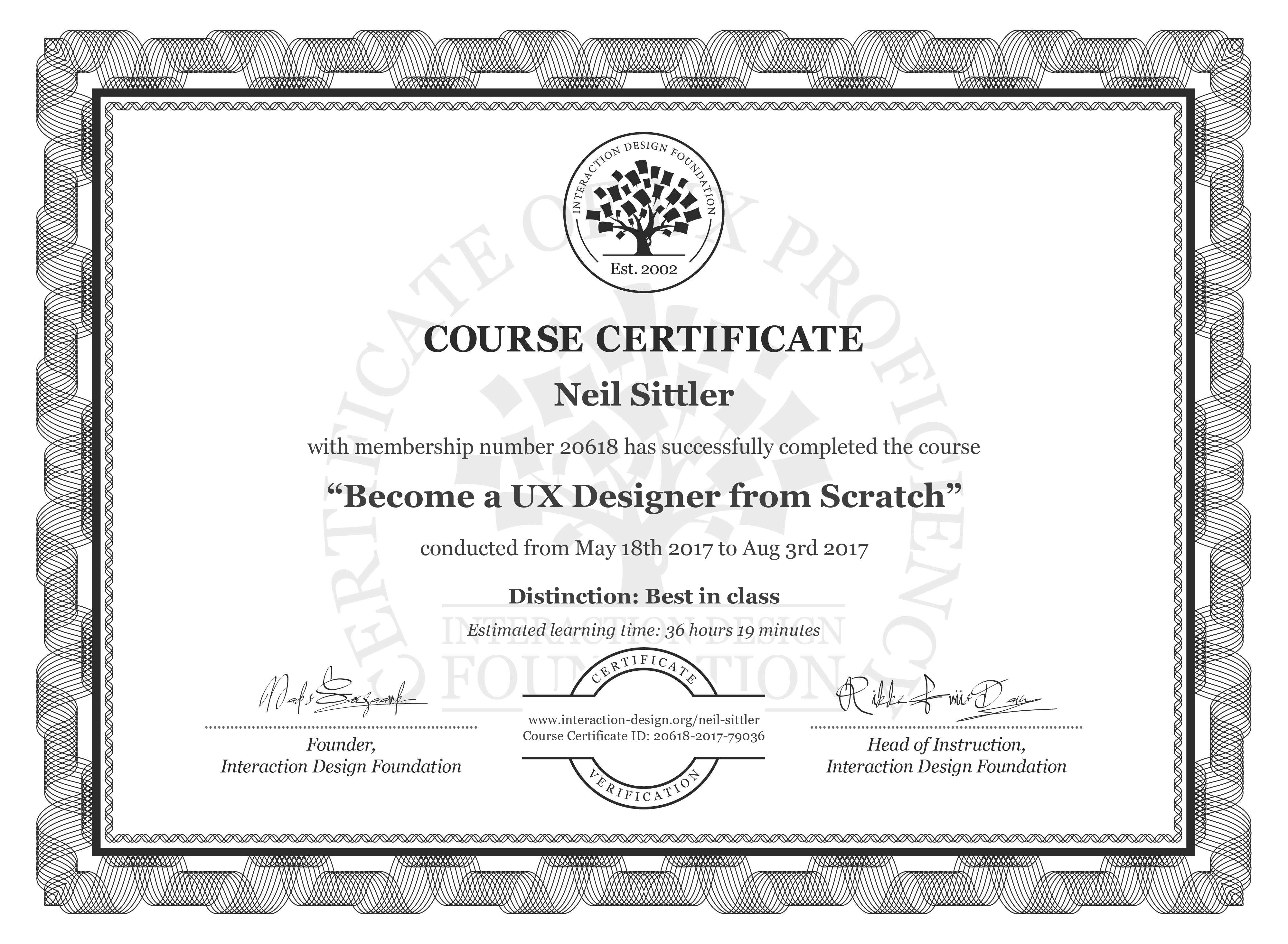 Neil Sittler: Course Certificate - Become a UX Designer from Scratch