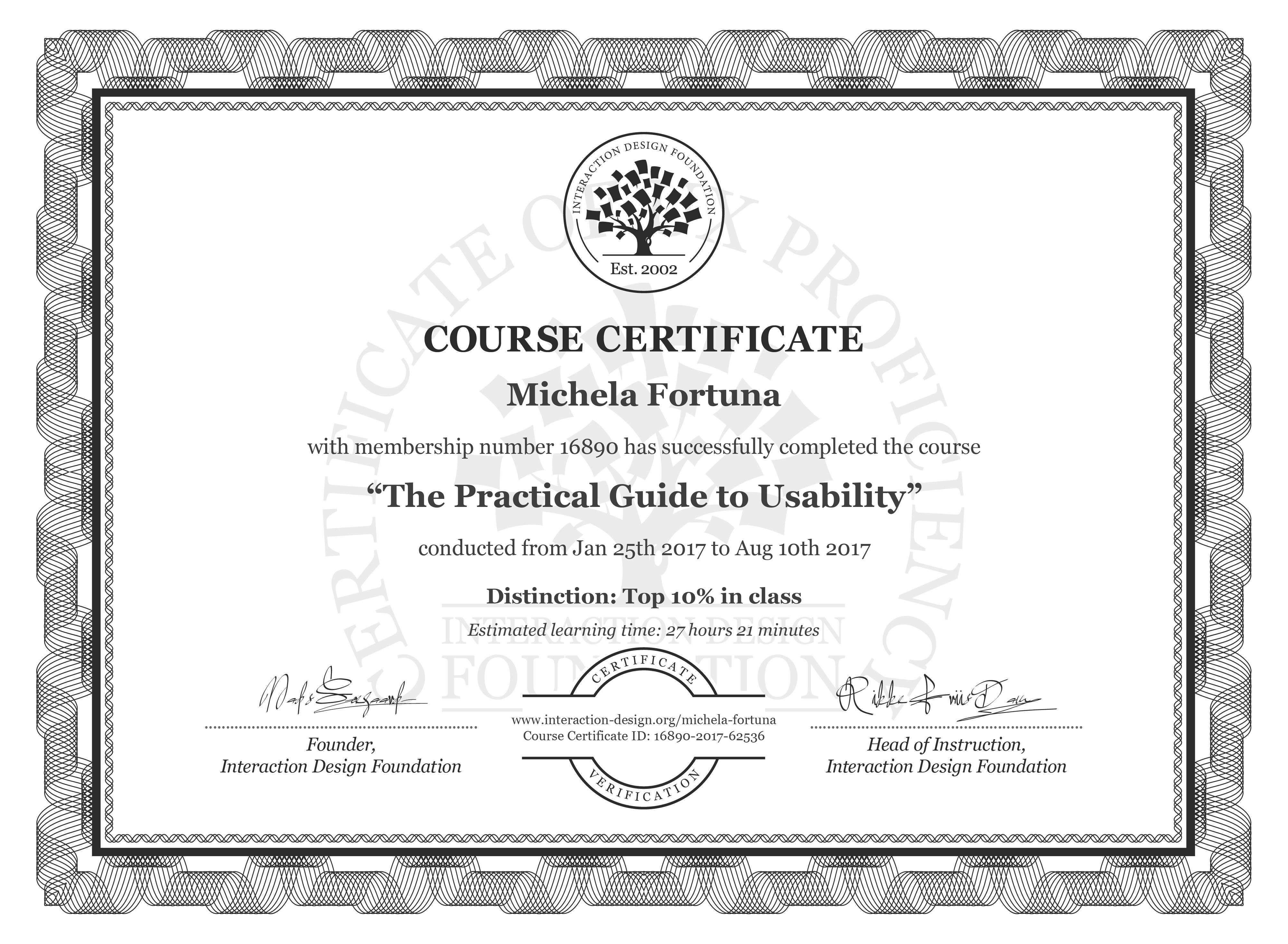 Michela Fortuna: Course Certificate - The Practical Guide to Usability