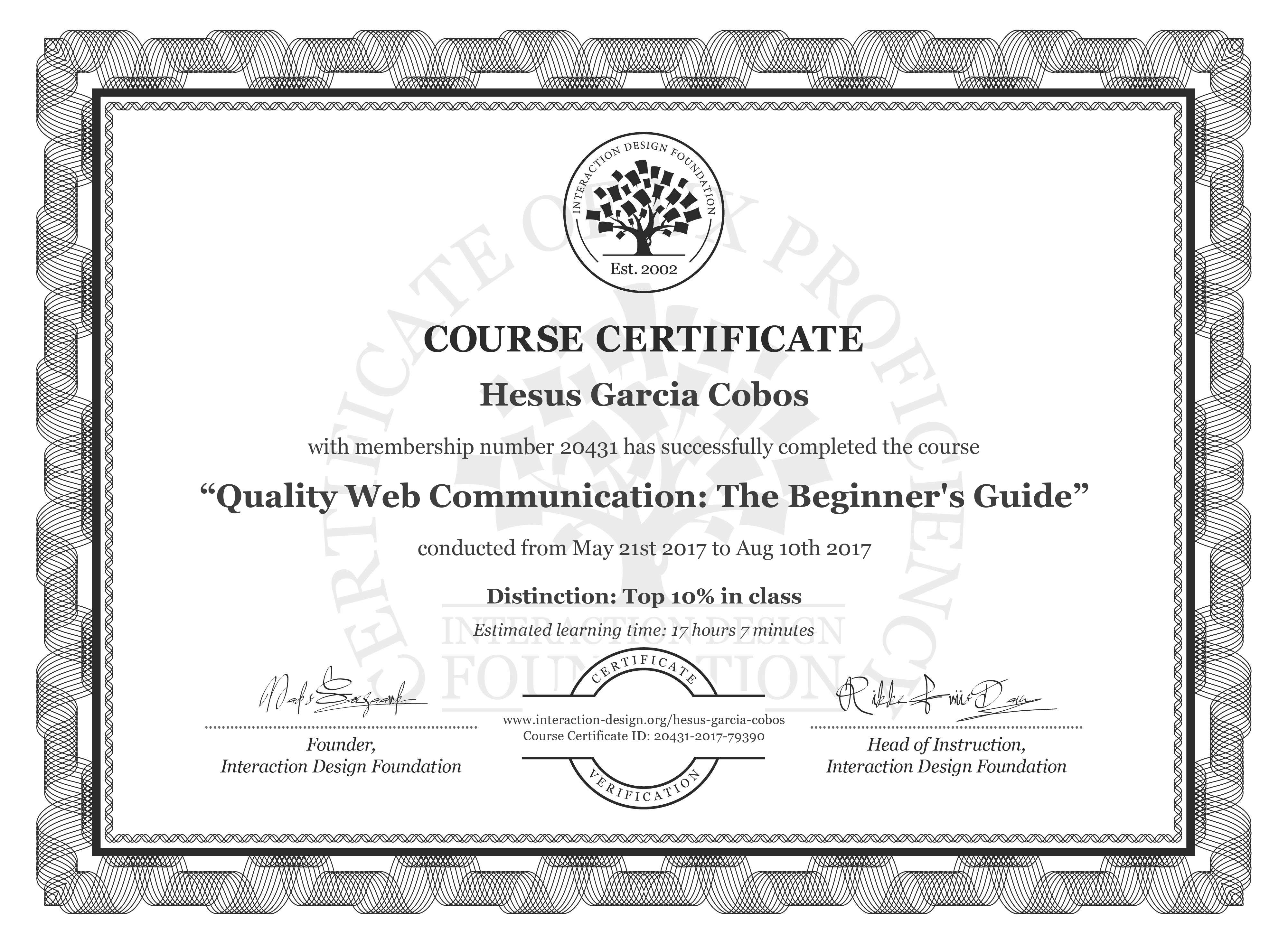 Hesus Garcia Cobos: Course Certificate - Quality Web Communication: The Beginner's Guide