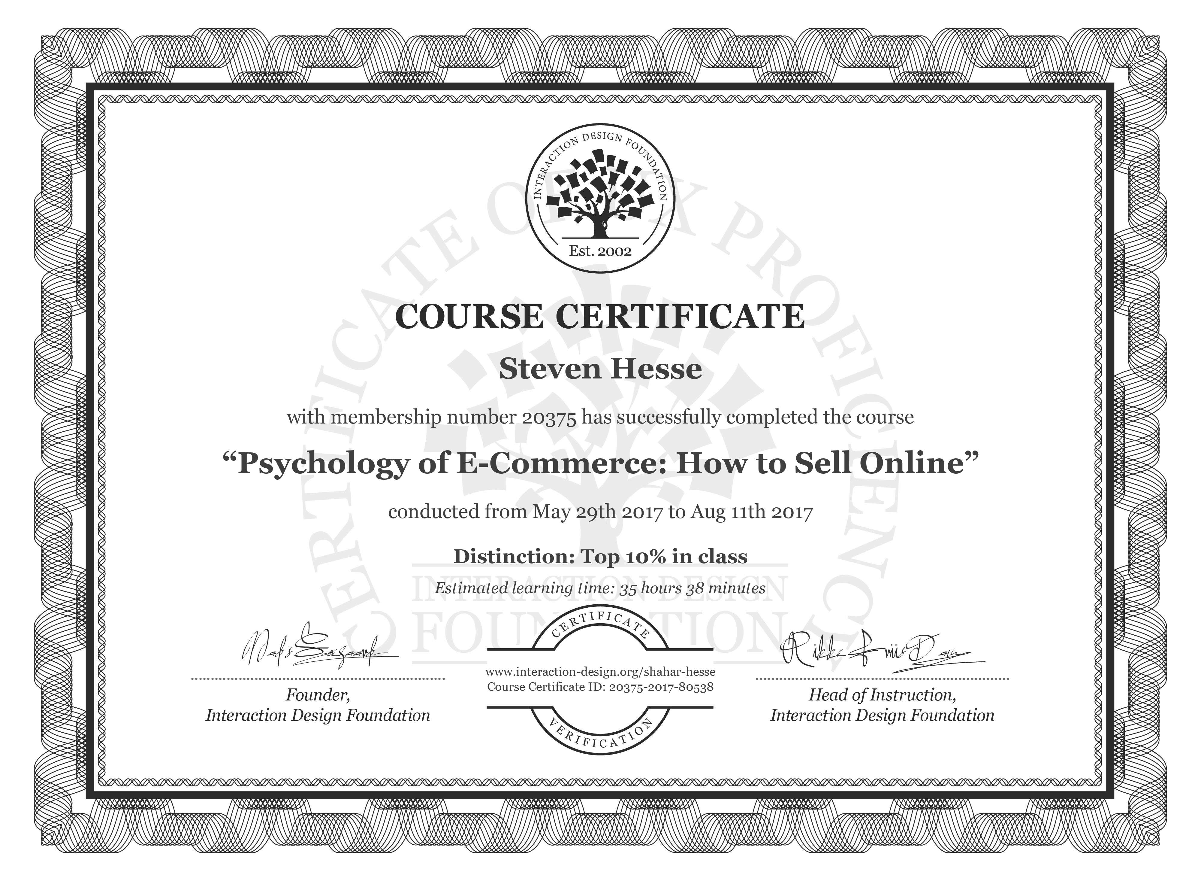 Steven Hesse's Course Certificate: Psychology of E-Commerce: How to Sell Online