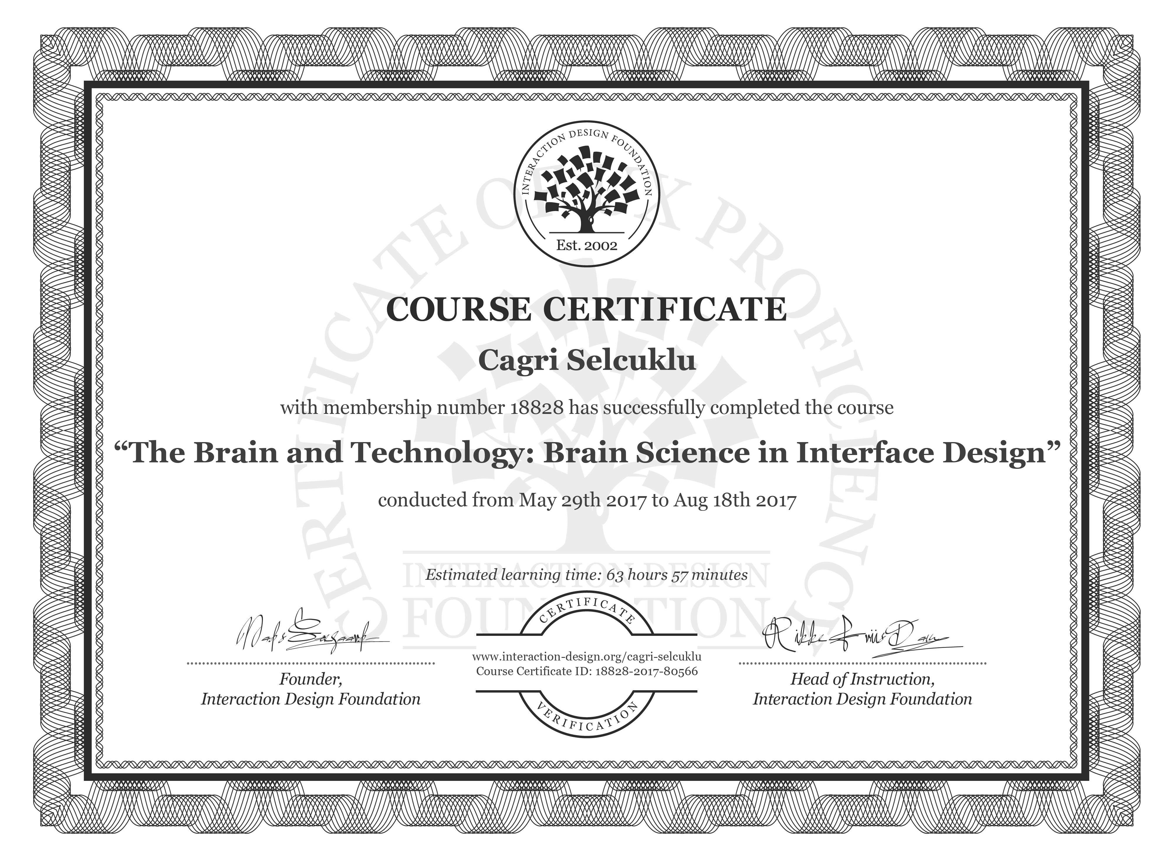 Cagri Selcuklu: Course Certificate - The Brain and Technology: Brain Science in Interface Design