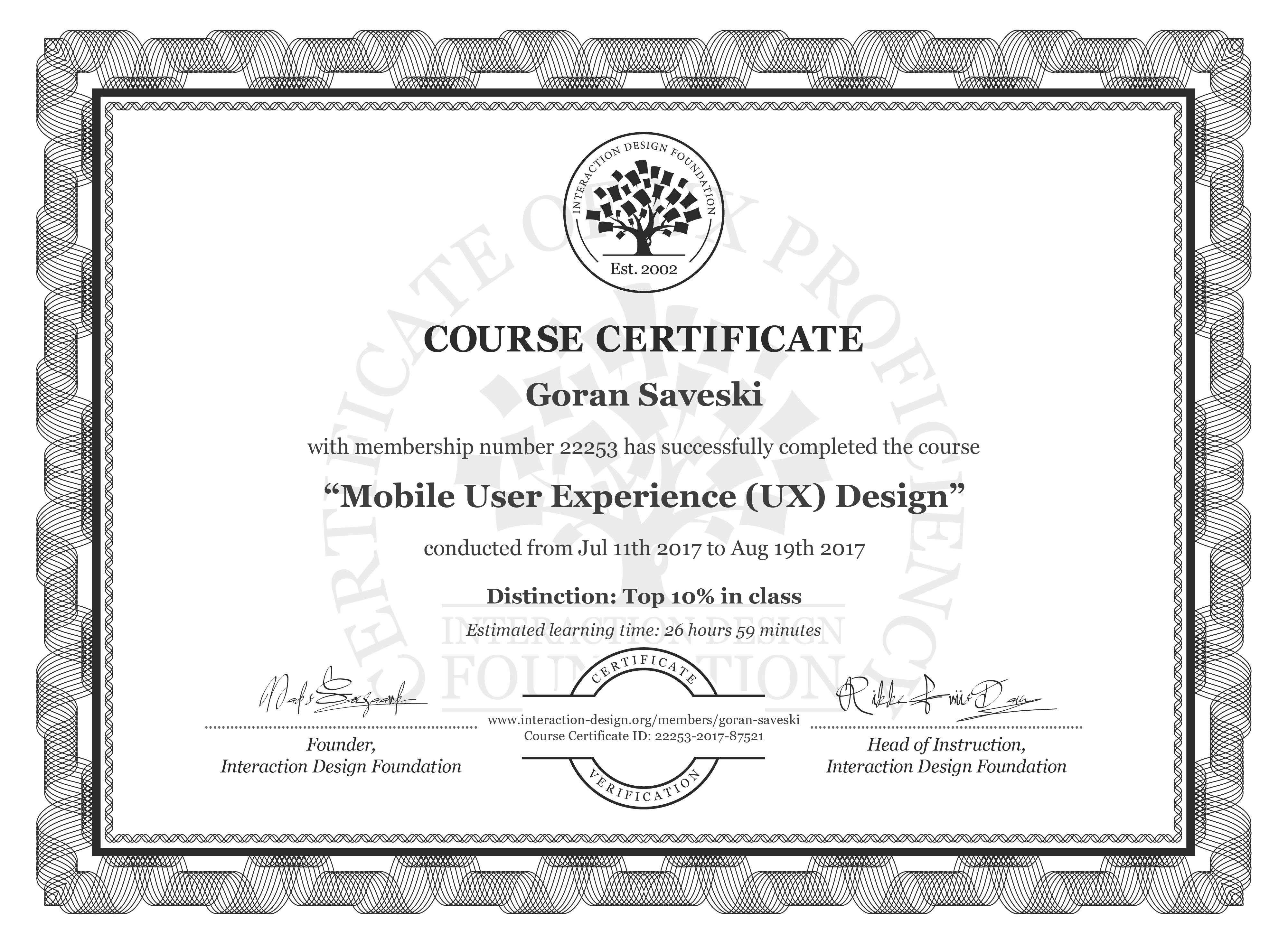 Goran Saveski: Course Certificate - Mobile User Experience (UX) Design