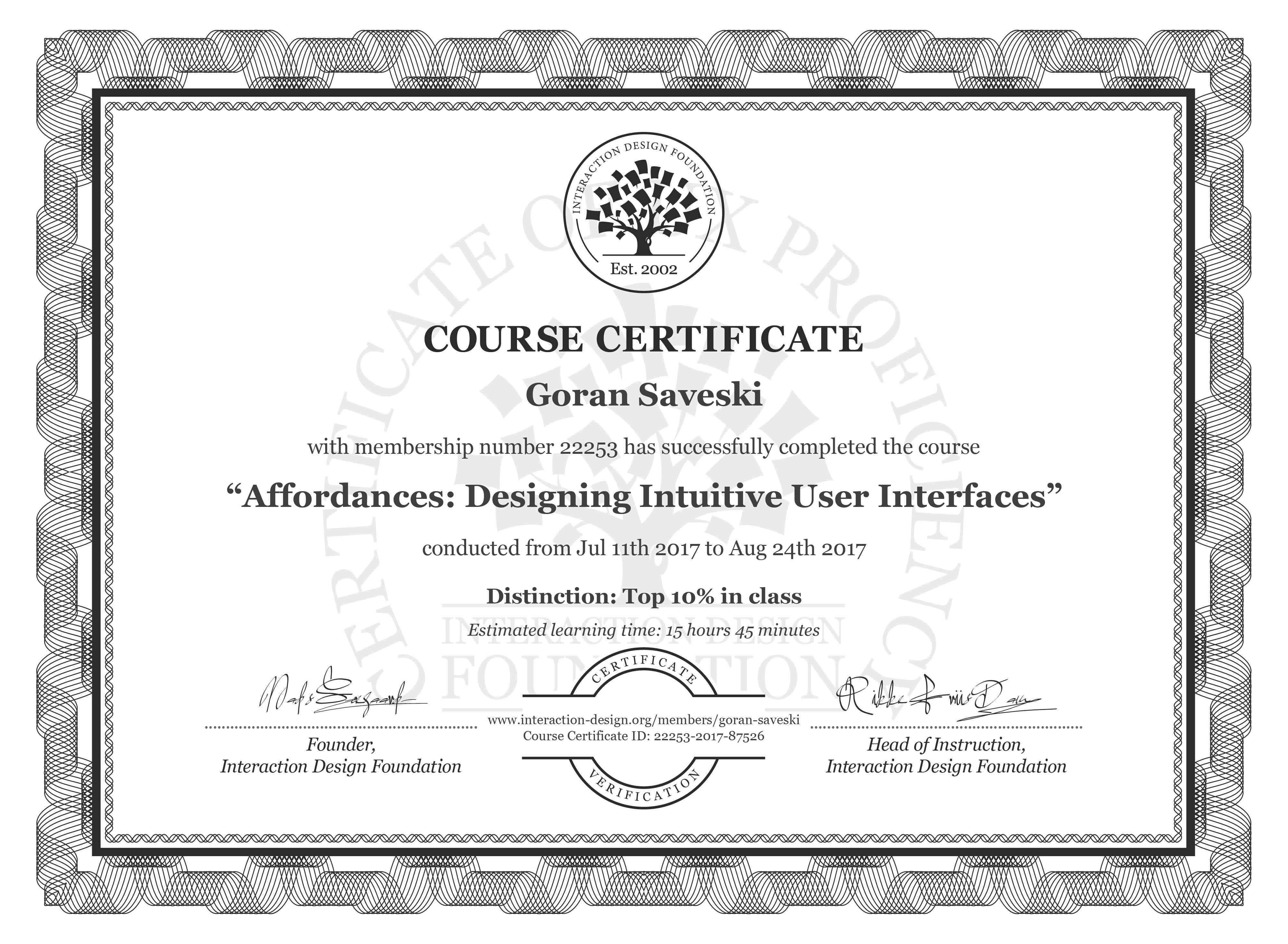 Goran Saveski: Course Certificate - Affordances: Designing Intuitive User Interfaces