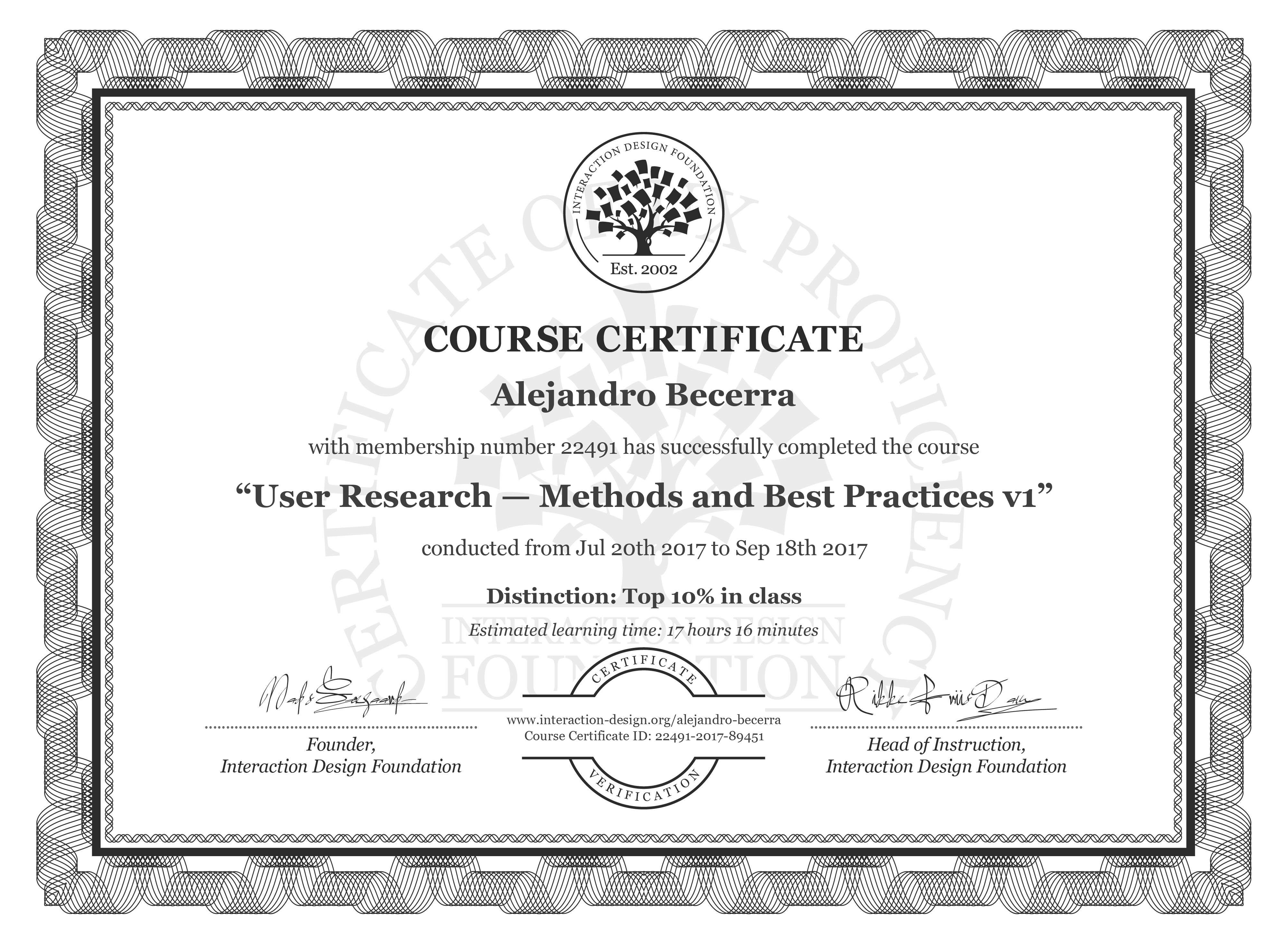 Alejandro Becerra: Course Certificate - User Research — Methods and Best Practices