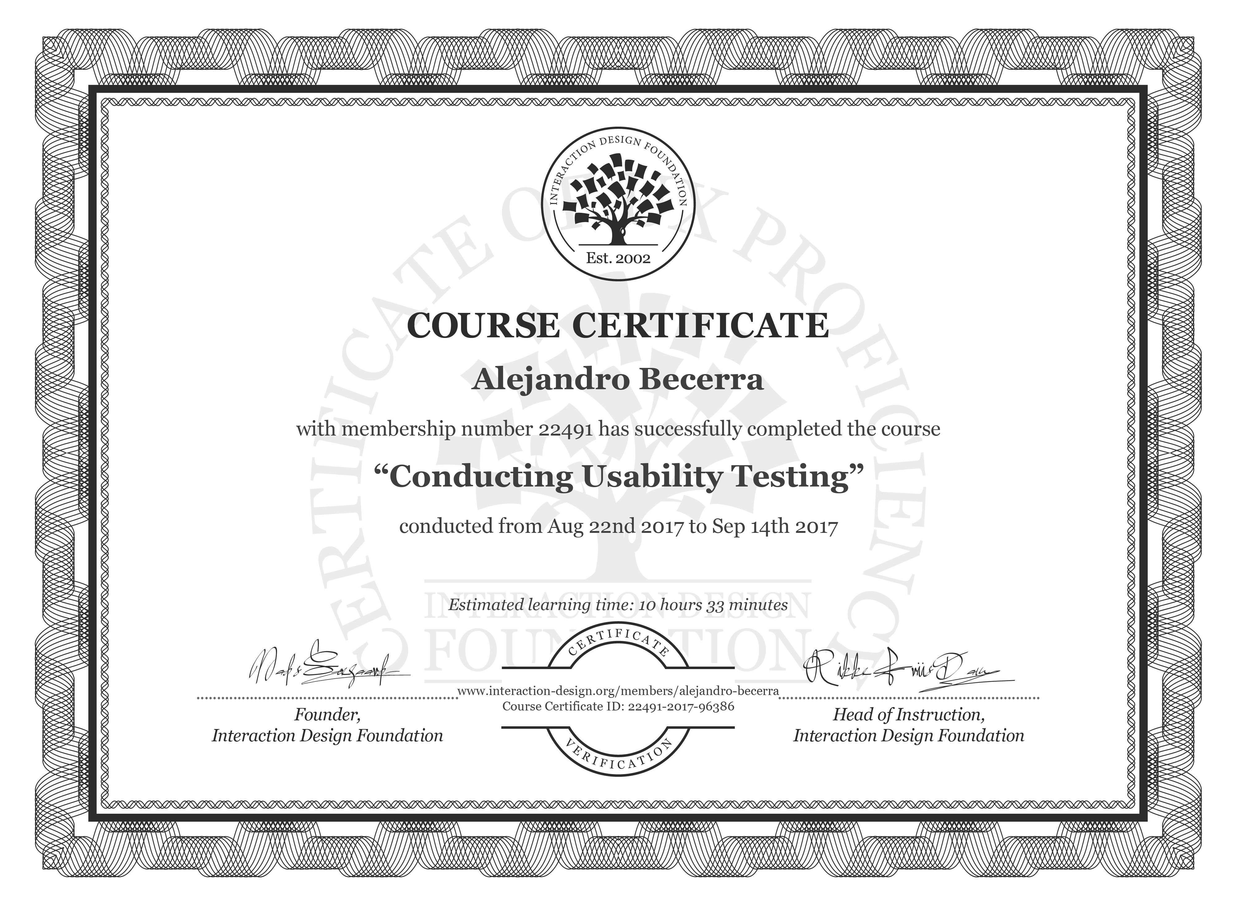 Alejandro Becerra: Course Certificate - Conducting Usability Testing