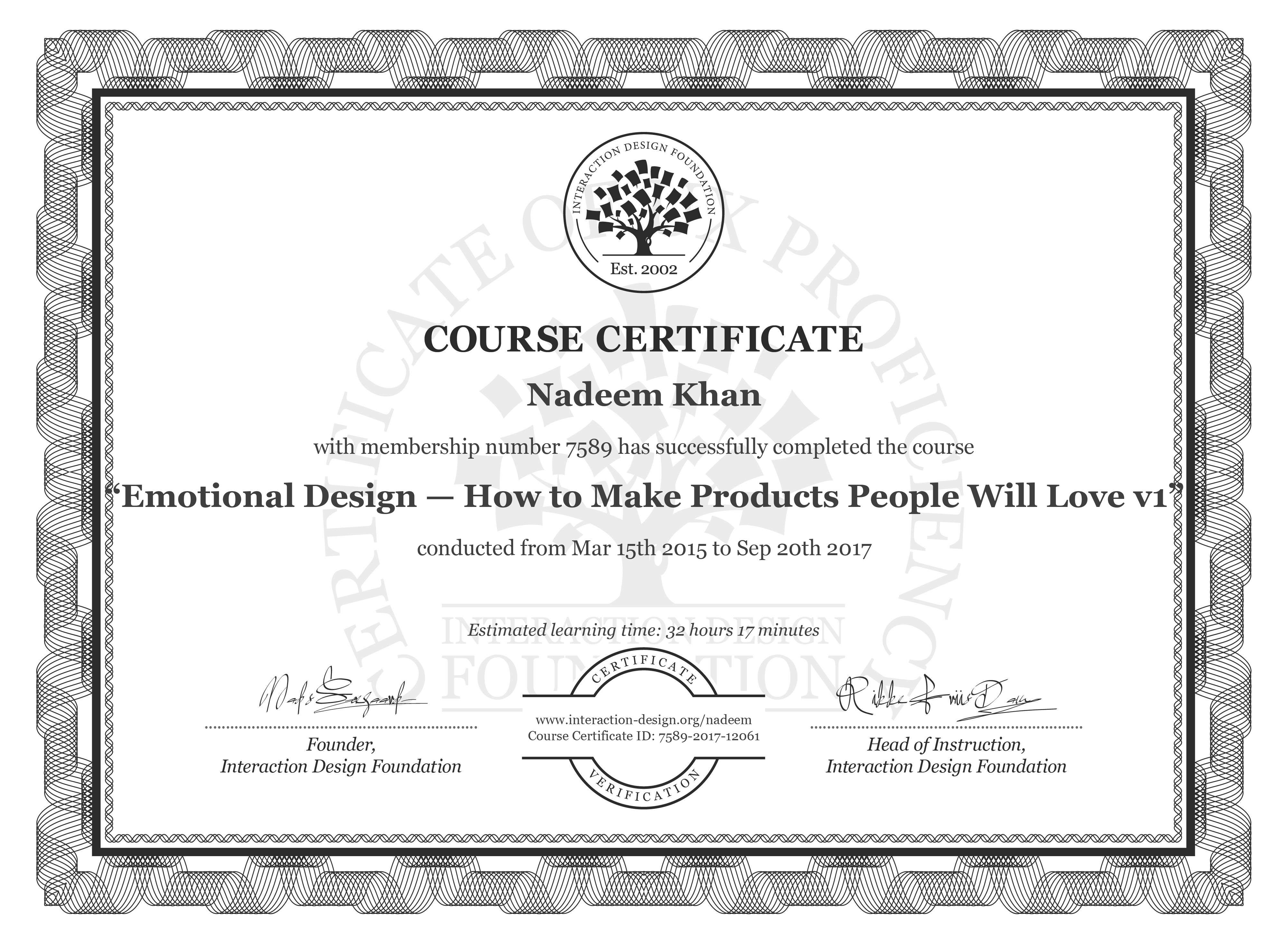 Nadeem Khan's Course Certificate: Emotional Design: How to Make Products People Will Love